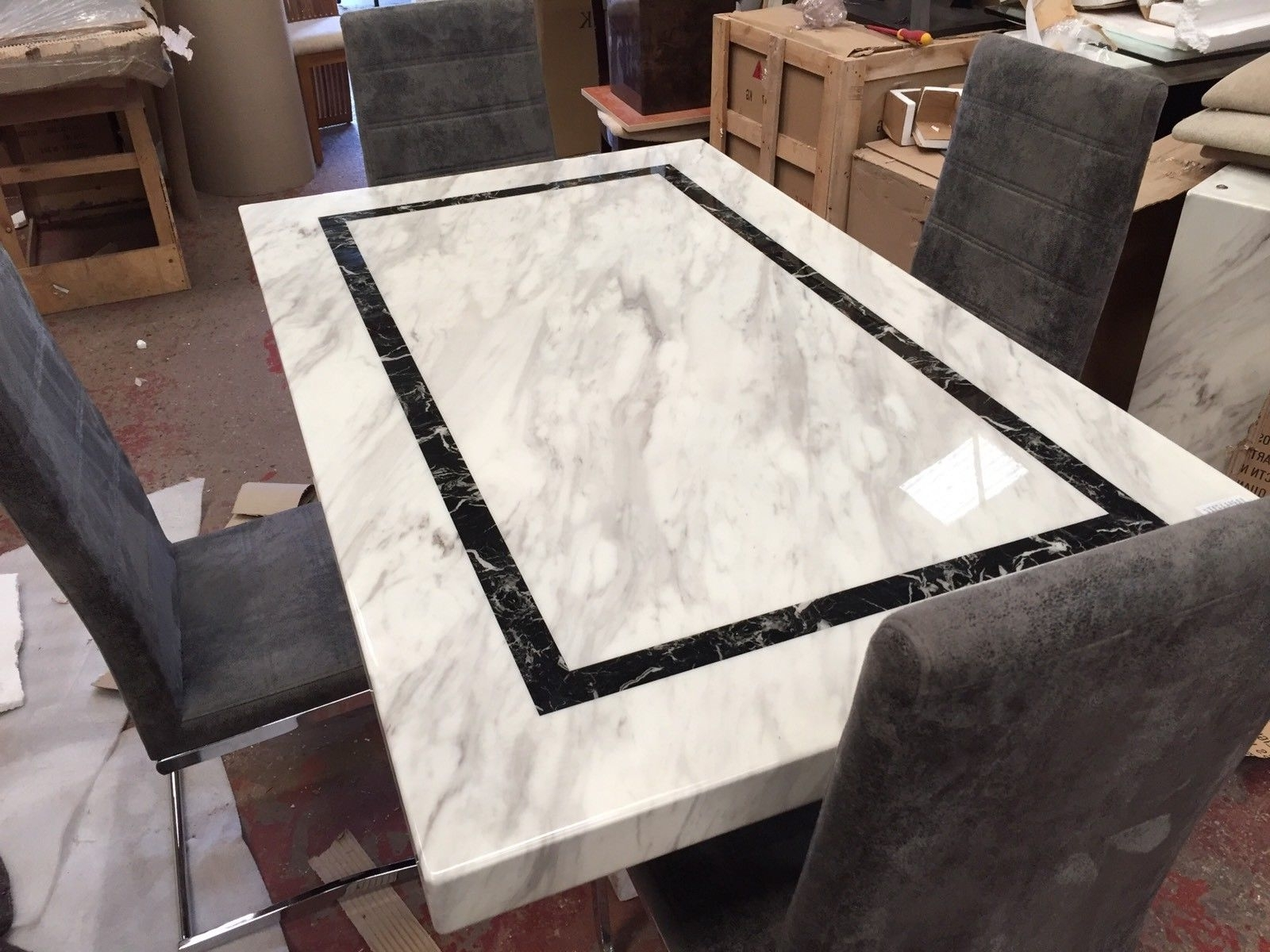 Recent Ex Scs Alfrank Everest Marble Dining Table & 4 Chairs – £ (View 15 of 25)