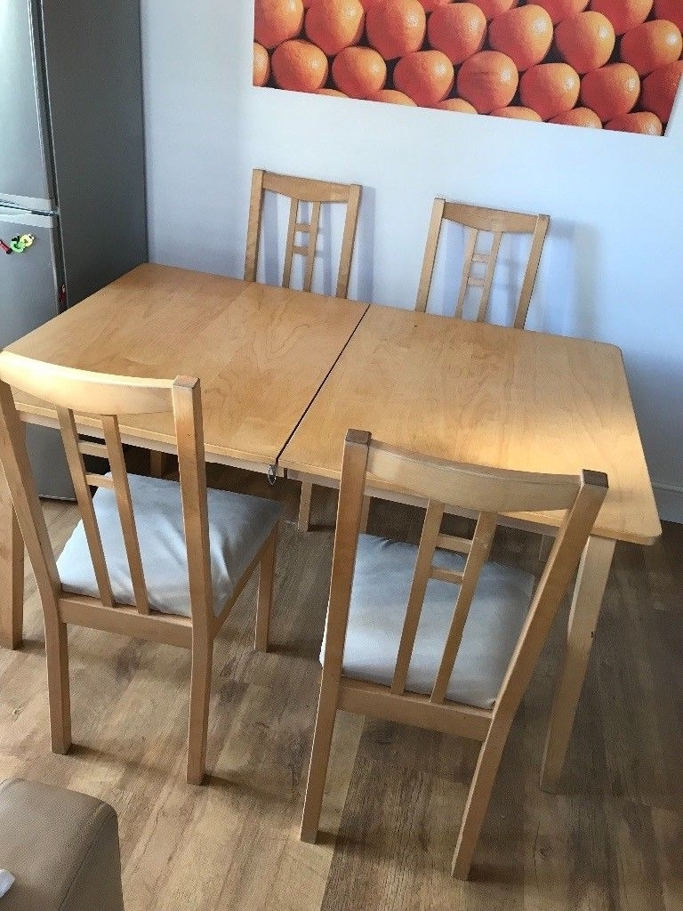 Recent Extendable Dining Tables And 4 Chairs With Regard To Ikea Nygard Extendable Dining Table And 4 Chairs (View 22 of 25)