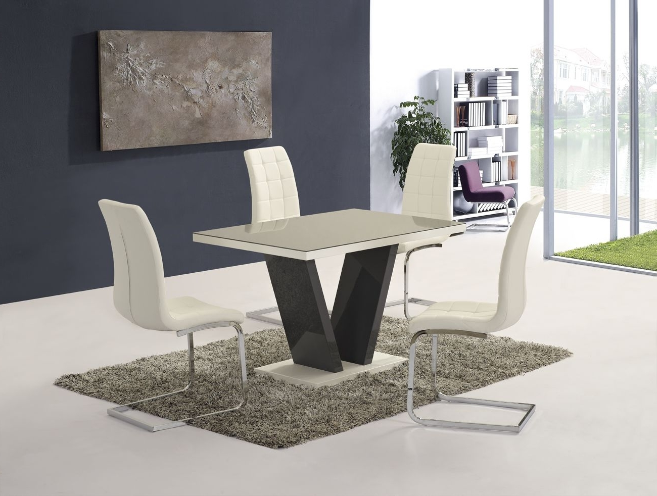 Recent Ga Vico High Gloss Grey Glass Top Designer 120 Cm Dining Set & 4 In Cream High Gloss Dining Tables (View 22 of 25)