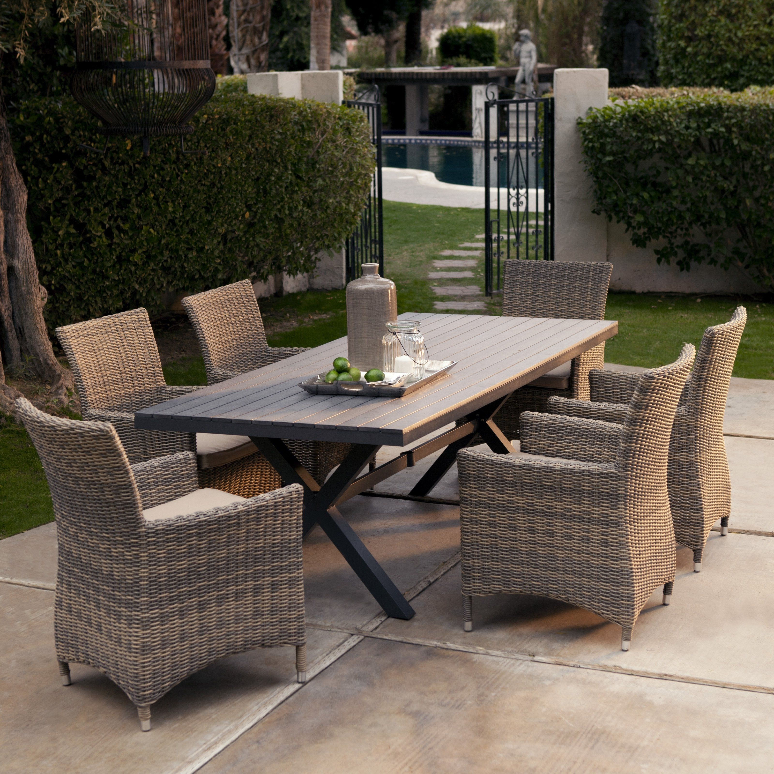 Recent Garden Dining Tables For Bella All Weather Wicker Patio Dining Set – Seats 6 – Patio Dining (View 22 of 25)