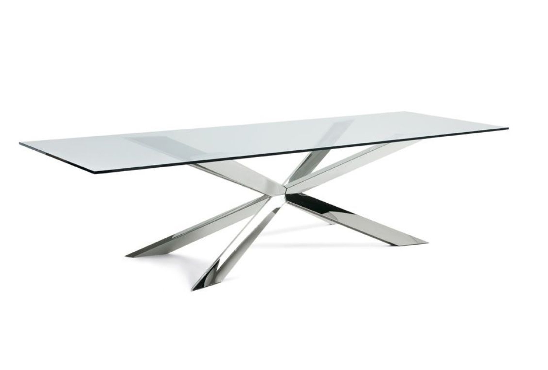 Recent Glass And Stainless Steel Dining Tables Throughout Gabbi Glass And Stainless Steel Dining Table 210Cm (View 16 of 25)