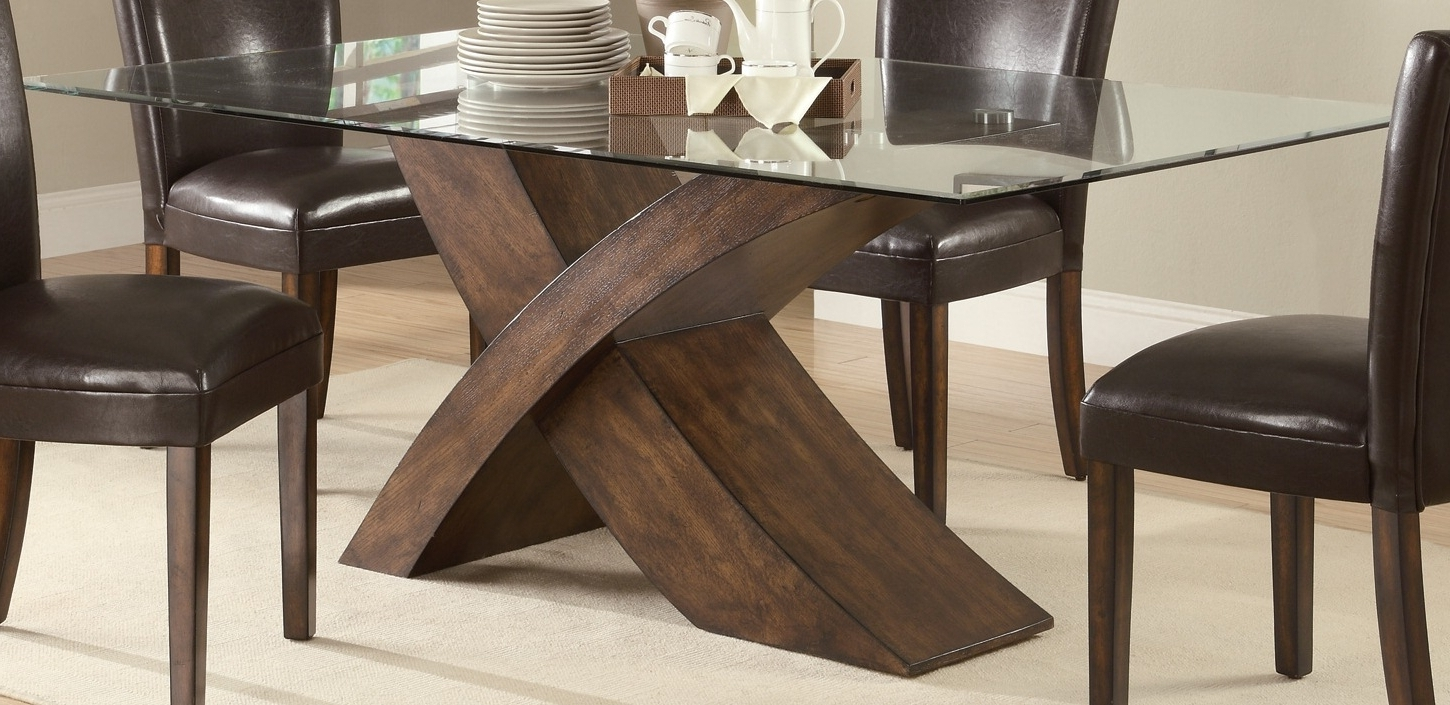 Recent Glass Dining Room Table With Wood Base Dining Ideas Rectangle Glass Intended For Wood Glass Dining Tables (View 11 of 25)
