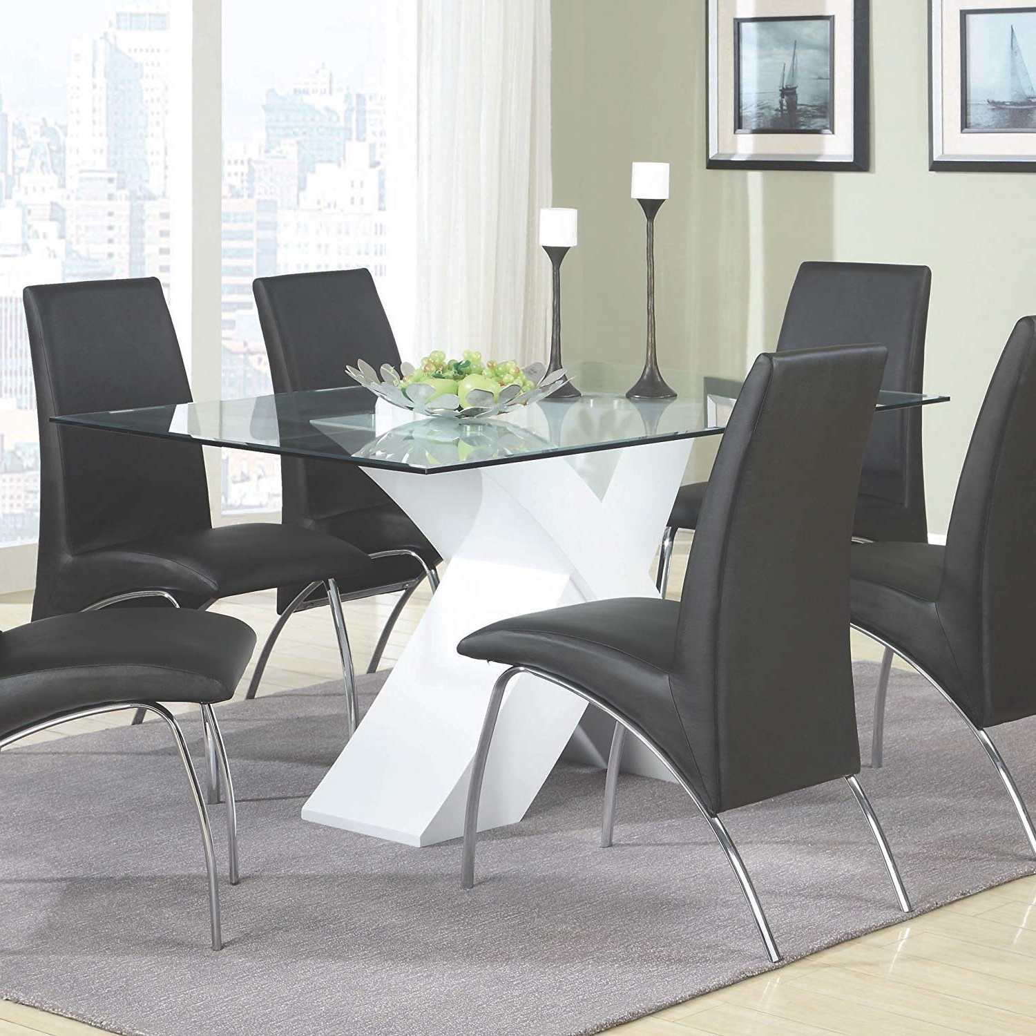 Recent Glass Dining Tables Sets Pertaining To Amazon: Coaster Home Furnishings 120821 Contemporary Glass Top (View 21 of 25)
