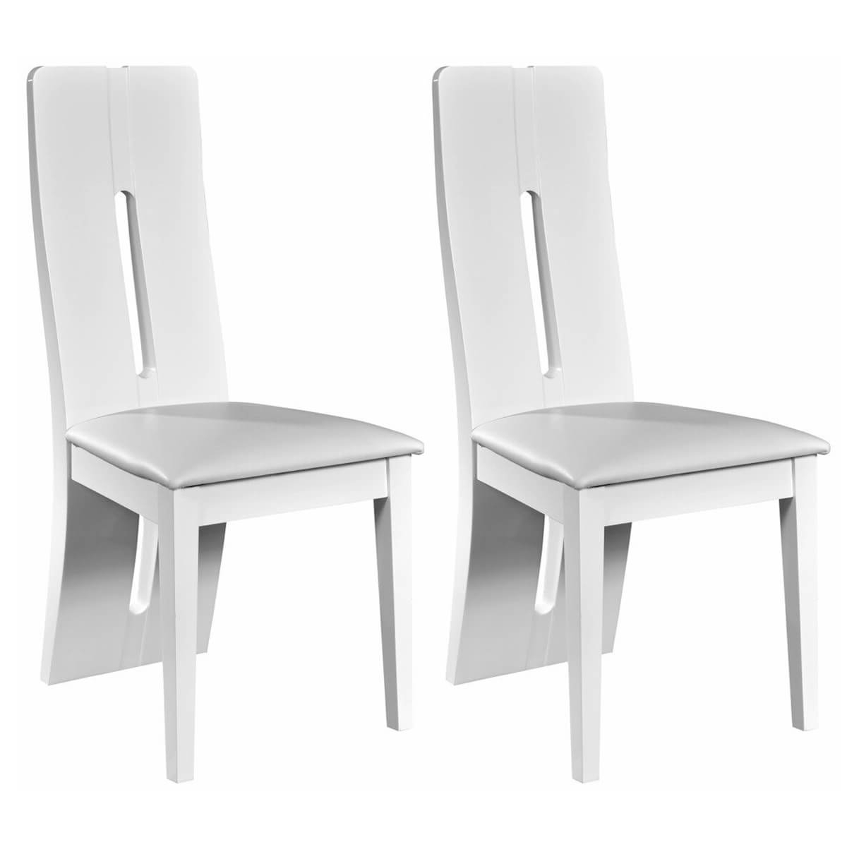 Recent High Gloss White Dining Chairs Pertaining To Floyd Faux Leather & White High Gloss Dining Chairs (View 13 of 25)