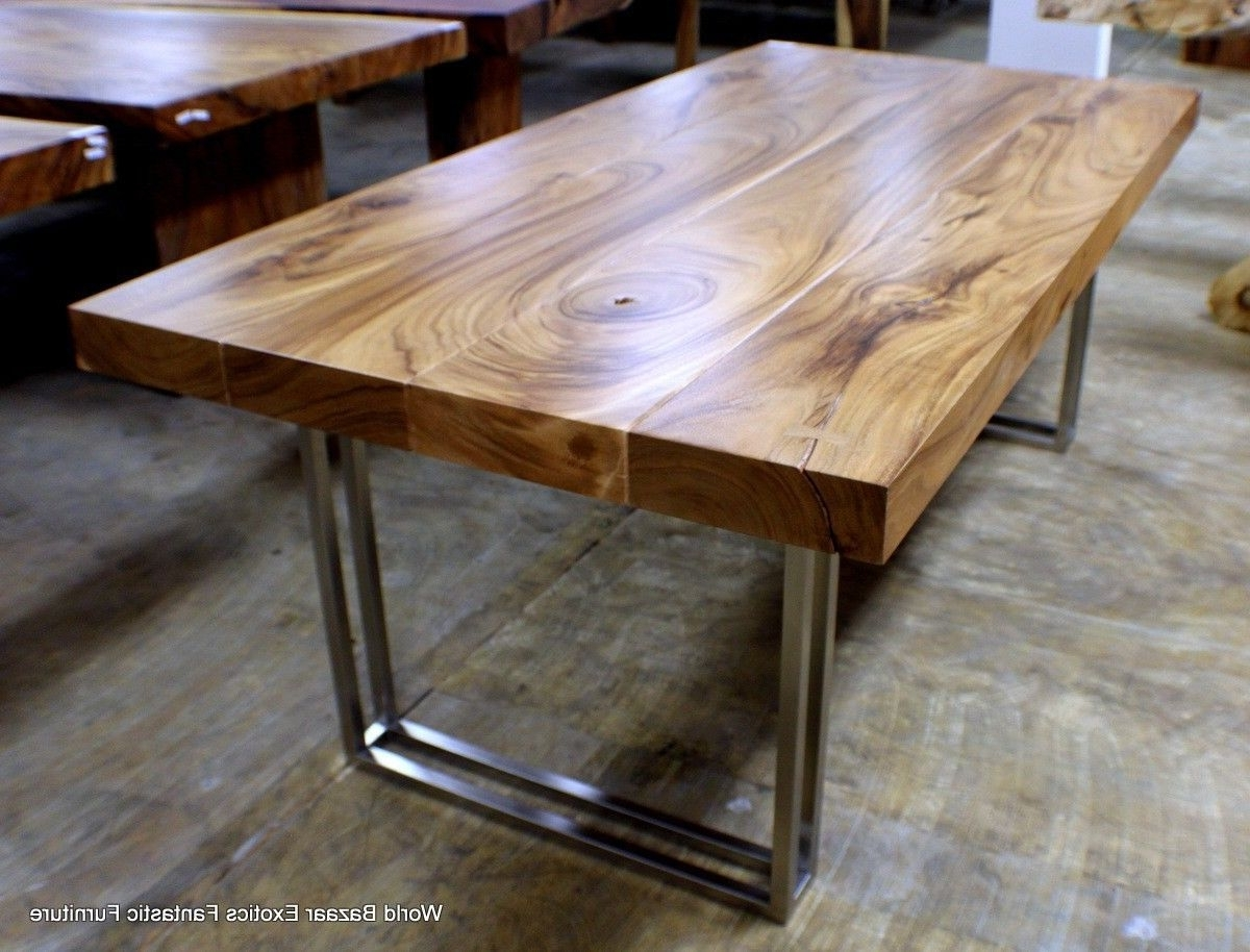 """Recent Iron And Wood Dining Tables Intended For 79"""" L Modern Desk Dining Table Exotic Solid Acacia Wood Stainless (View 22 of 25)"""