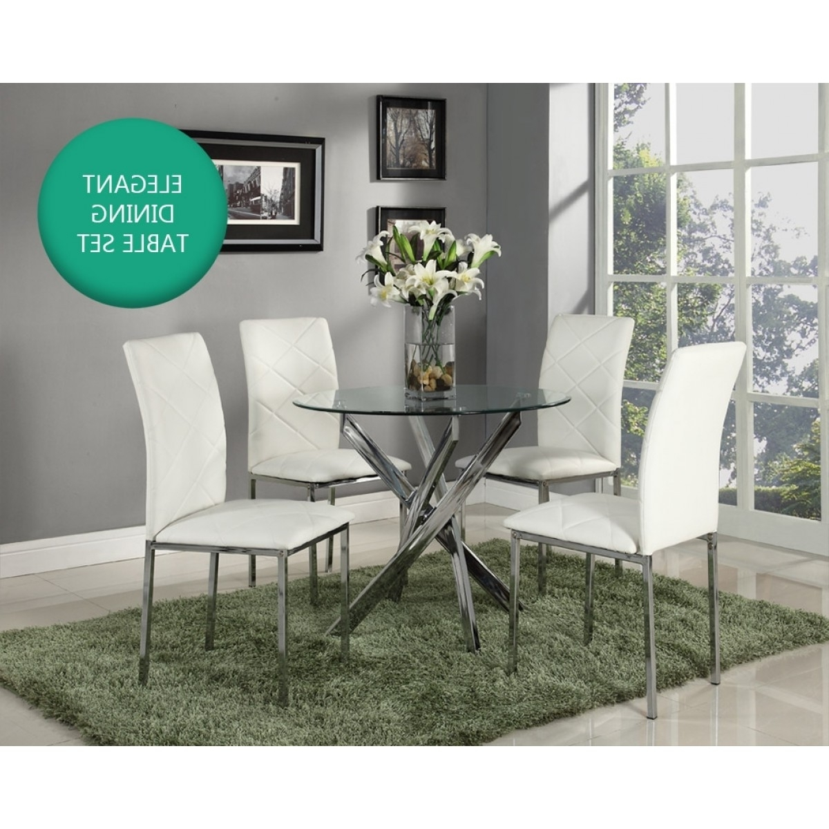 Recent Luxury White & Chrome Round Glass Dining Table & 4 Chairs Set – Home Intended For Cheap Glass Dining Tables And 4 Chairs (View 17 of 25)
