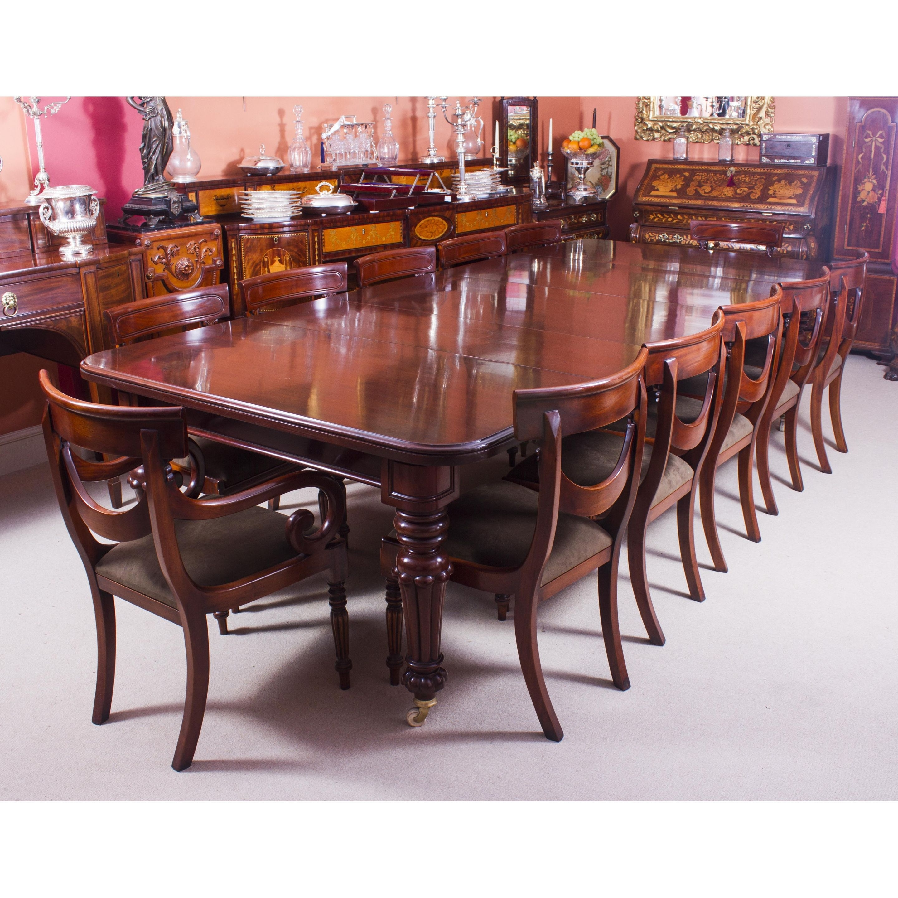 Recent Mahogany Extending Dining Tables Regarding Antique 10 Ft Flame Mahogany Extending Dining Table 19Th Century (View 20 of 25)