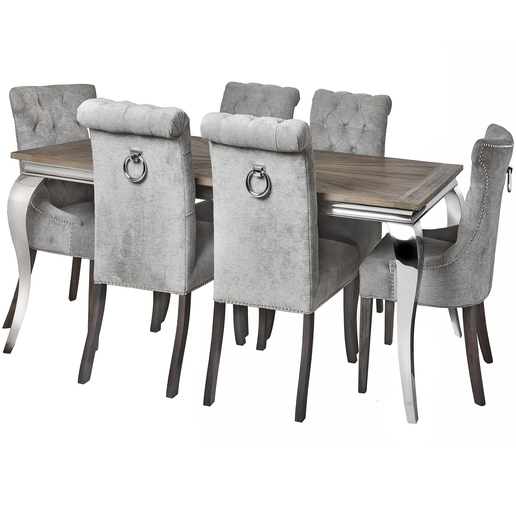 Recent Mayfair Collection Reclaimed Elm Dining Table & 6 Ring Back Chairs Set Inside Mayfair Dining Tables (View 22 of 25)