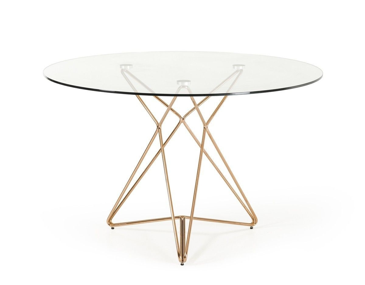 Recent Modrest Ashland Modern Glass & Rosegold Round Dining Table In Lassen Round Dining Tables (View 21 of 25)