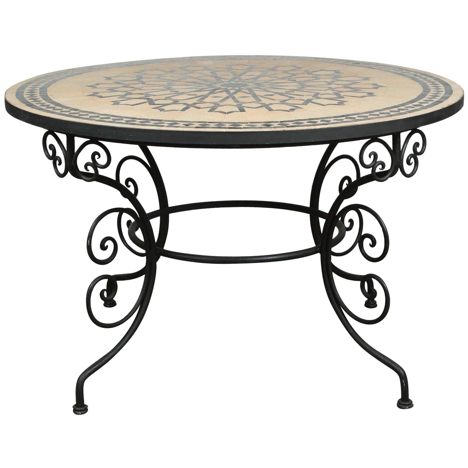 Recent Moroccan Outdoor Round Mosaic Tile Dining Table On Iron Base 47 In Throughout Mosaic Dining Tables For Sale (View 22 of 25)