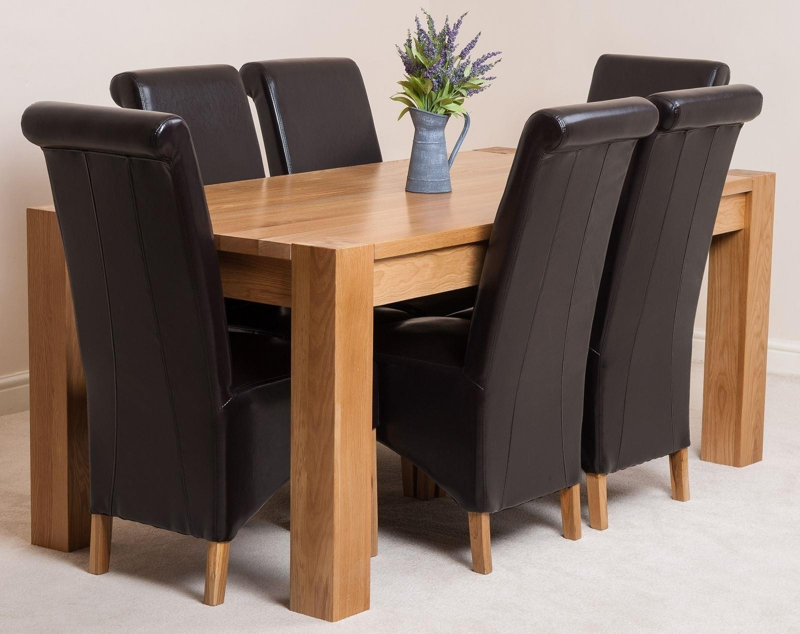 Recent Oak Dining Tables And Leather Chairs Intended For Kuba Solid Oak 180Cm Dining Table With 6 Montana Dining Chairs (View 21 of 25)