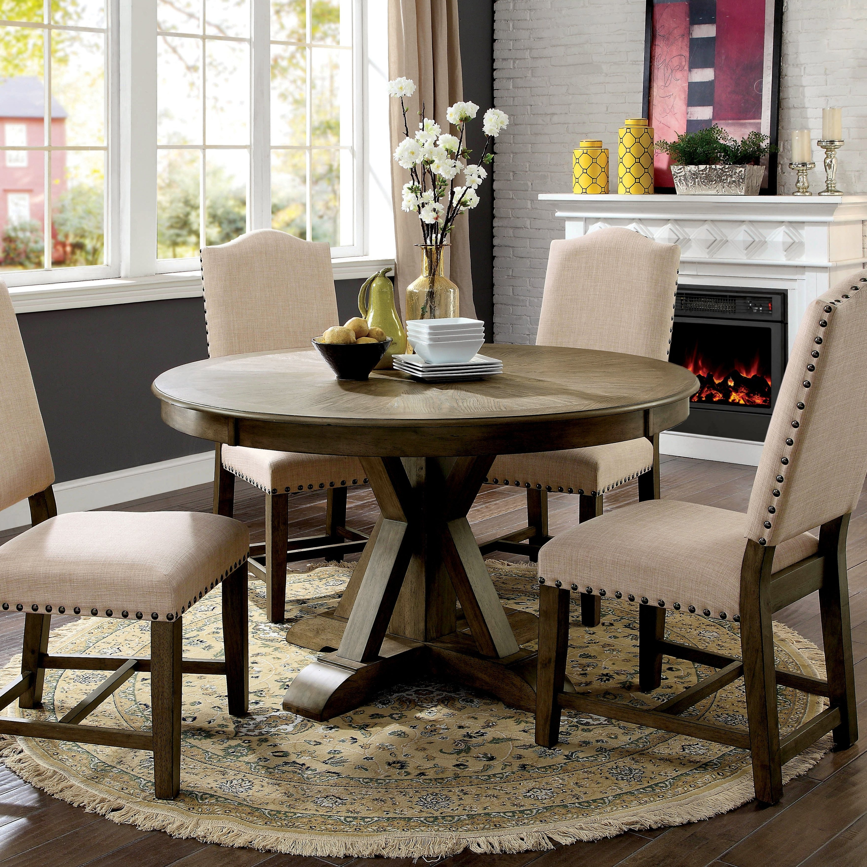 Recent Oak Round Dining Tables And Chairs Pertaining To Shop Furniture Of America Cooper Rustic Light Oak Round 54 Inch (View 15 of 25)