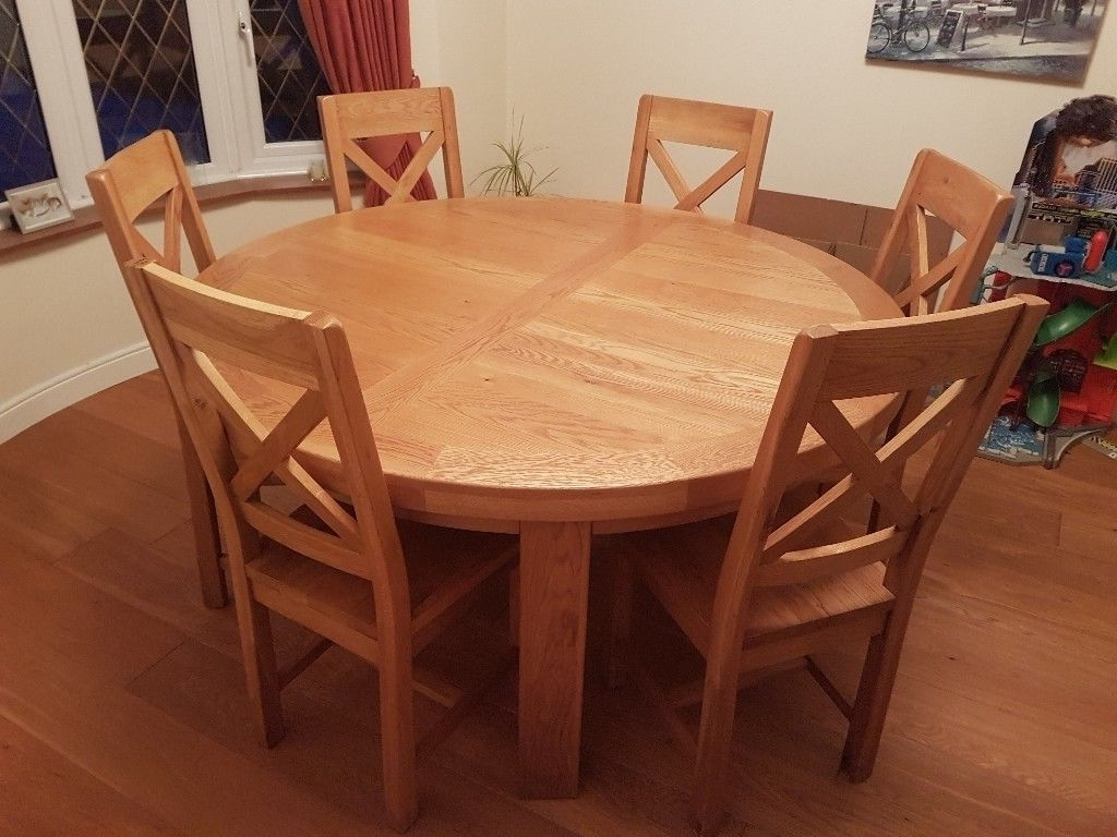 Recent Oak Round Dining Tables And Chairs With Solid Oak Round Dining Table And 6 Chairs (View 2 of 25)
