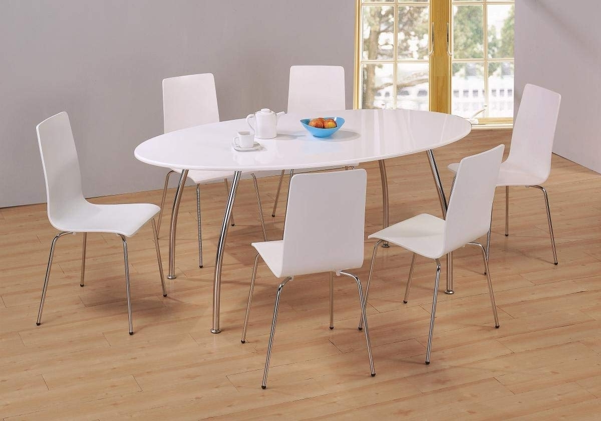 Recent Oval White High Gloss Dining Tables Within Kelsey Stores Fiji High Gloss Oval Dining Set White Table 6 Chairs (View 4 of 25)