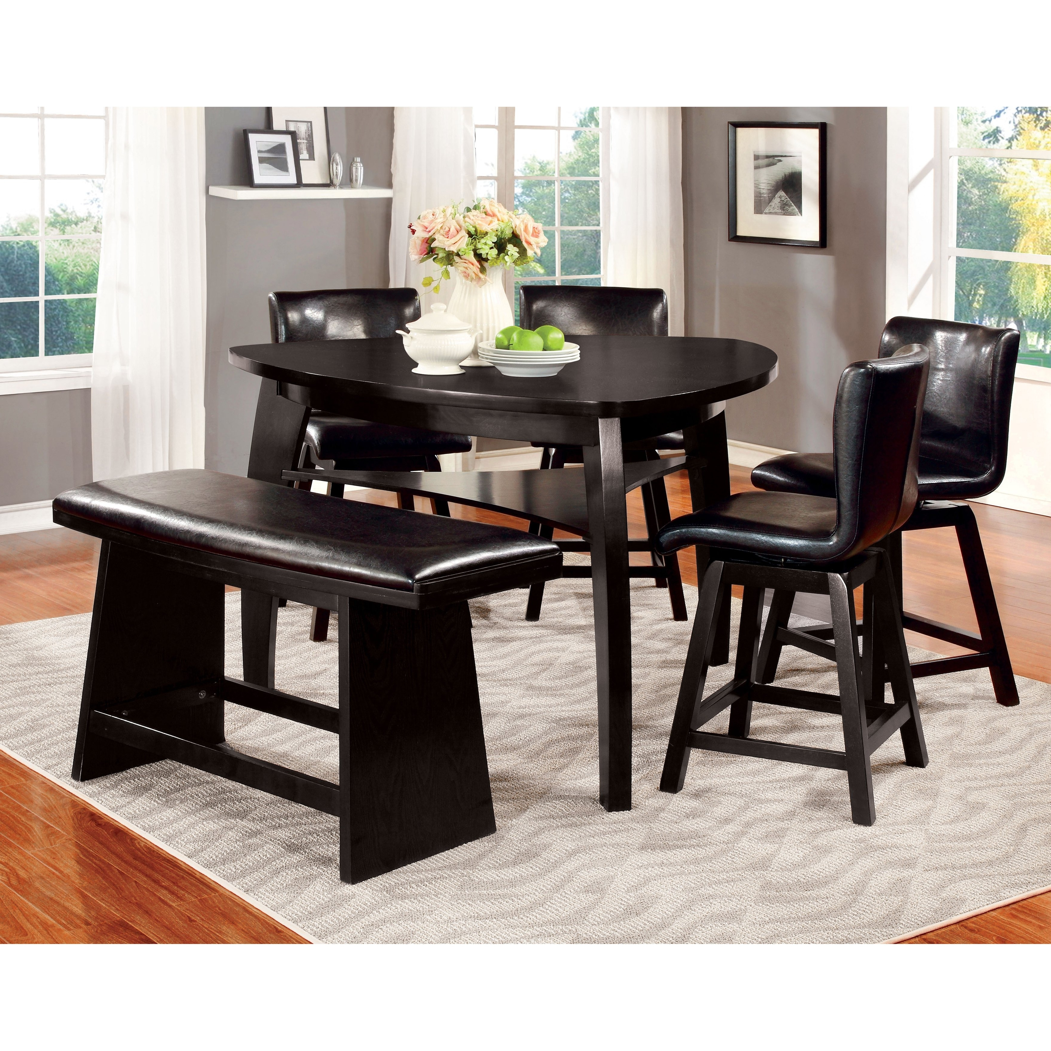 Recent Palazzo 3 Piece Dining Table Sets Throughout Shop Furniture Of America Karille Modern 6 Piece Black Counter (View 14 of 25)