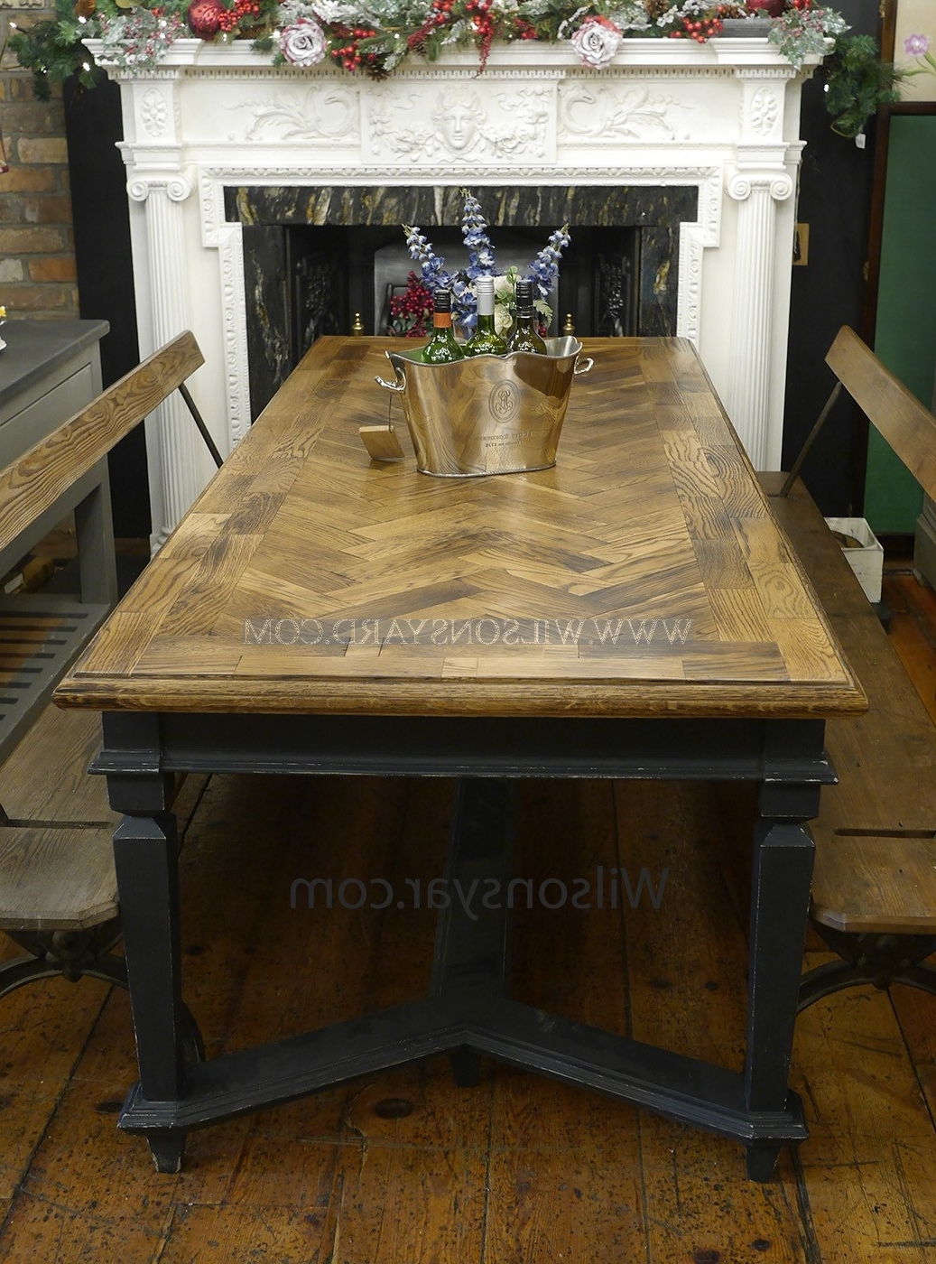 Recent Parquet Dining Tables For Reclaimed Oak Parquet Topped Bohemian Style Table (View 21 of 25)