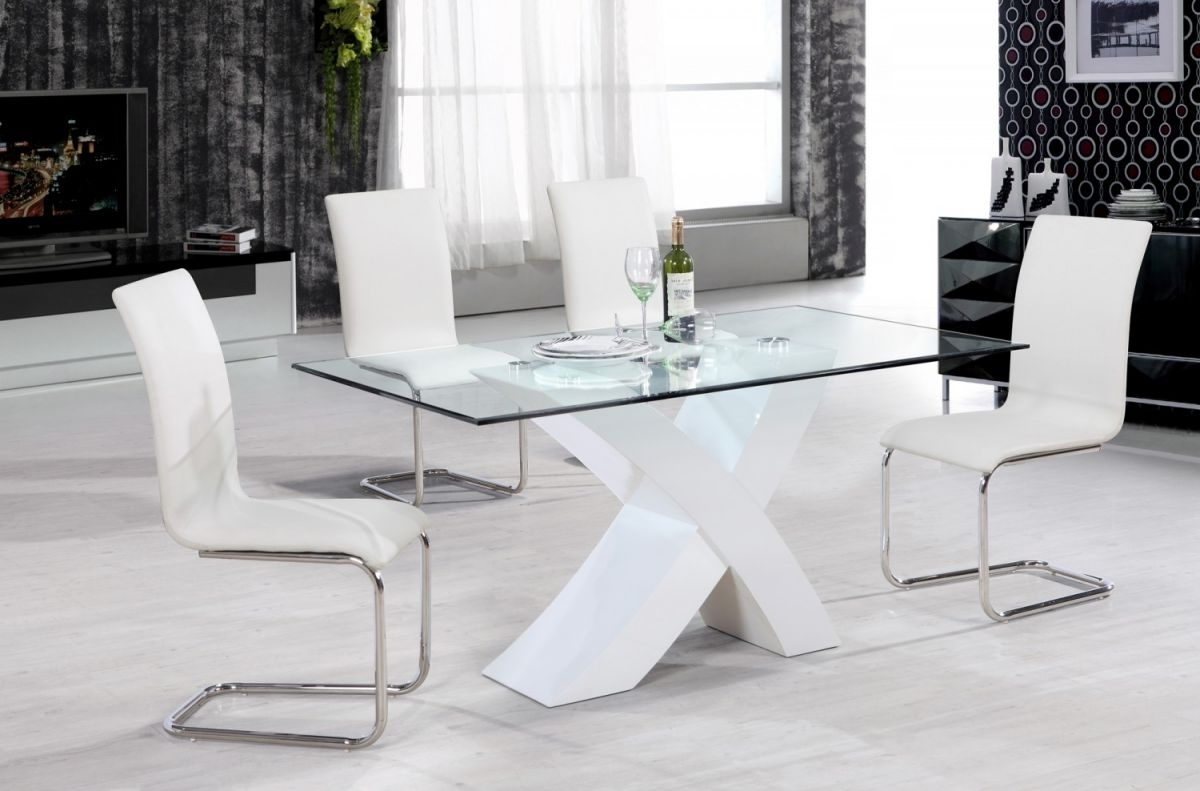 Recent Perth Glass Dining Tables Throughout 57 White Dining Table Set, Lunar Glass Dining Room Table And 4  (View 18 of 25)