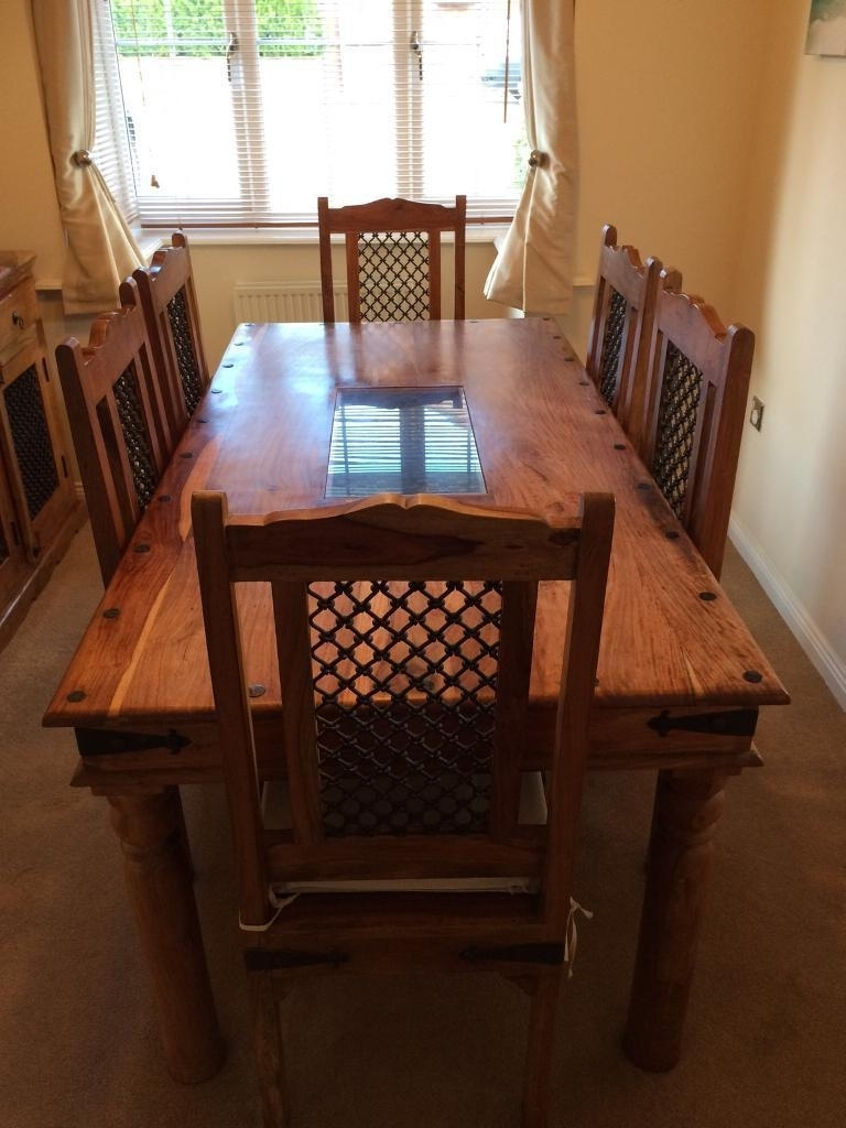 Recent Reduced** Jali Indian Sheesham Solid Wood Dining Table + 6 Matching Intended For Indian Wood Dining Tables (View 16 of 25)