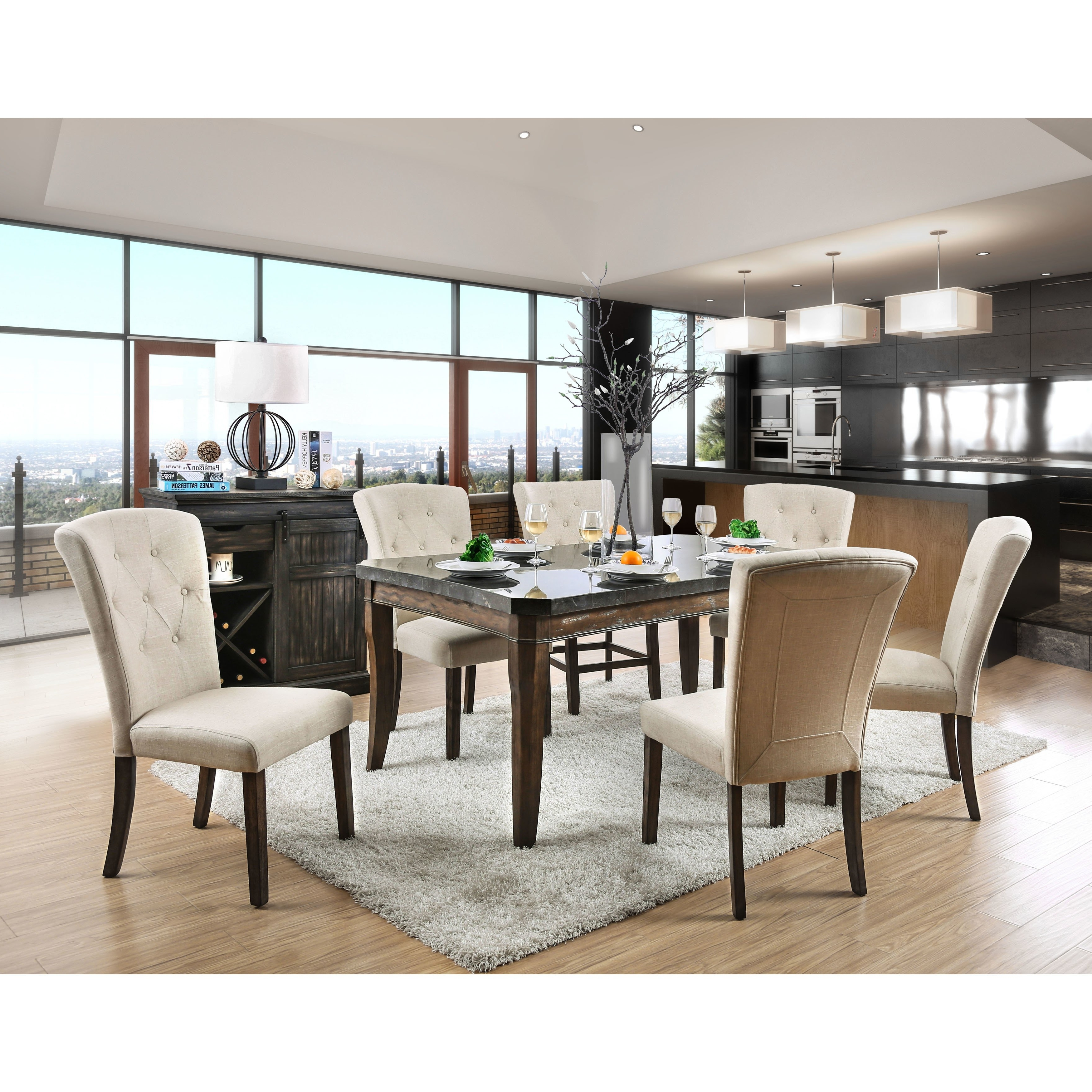 Recent Shop Furniture Of America Leliean Transitional 7 Piece Dark Oak Throughout Patterson 6 Piece Dining Sets (View 21 of 25)