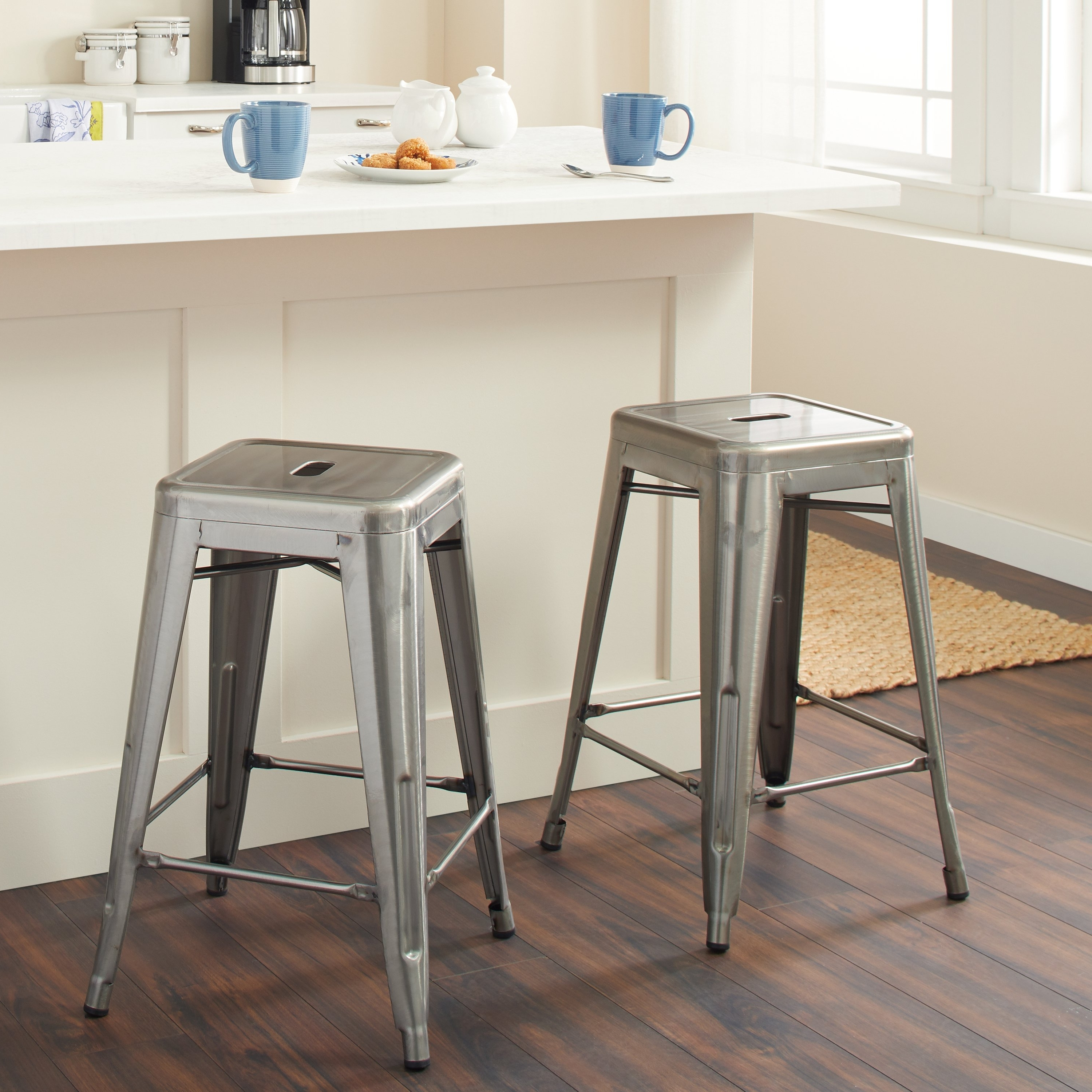 Recent Shop Tabouret 24 Inch Vintage Patina Backless Counter Stool (Set Of Throughout Laurent 7 Piece Counter Sets With Wood Counterstools (View 18 of 25)
