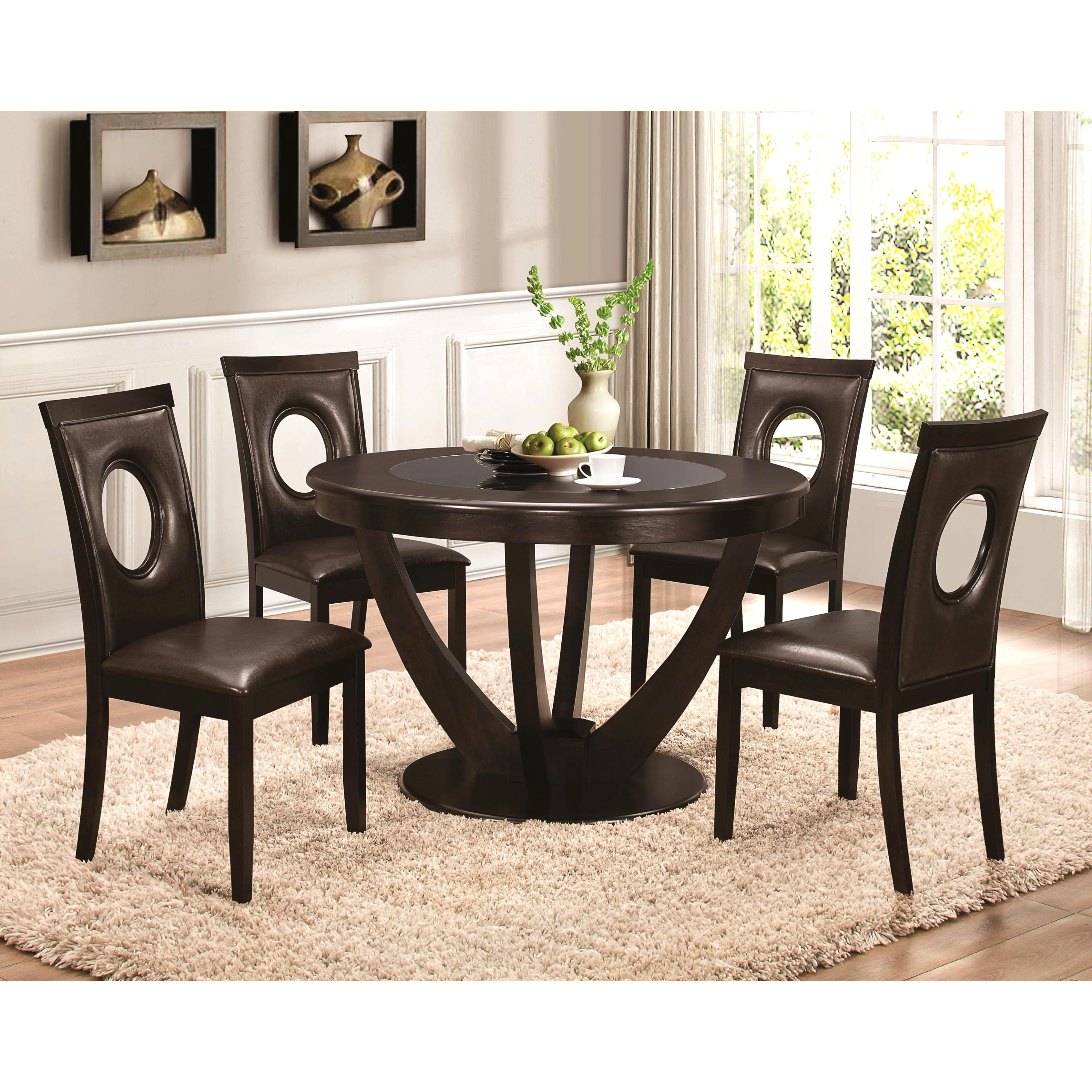 Recent Shop Valencia Casual 5 Piece Round Dininig Set With Black Tempered Intended For Valencia 72 Inch 6 Piece Dining Sets (View 15 of 25)