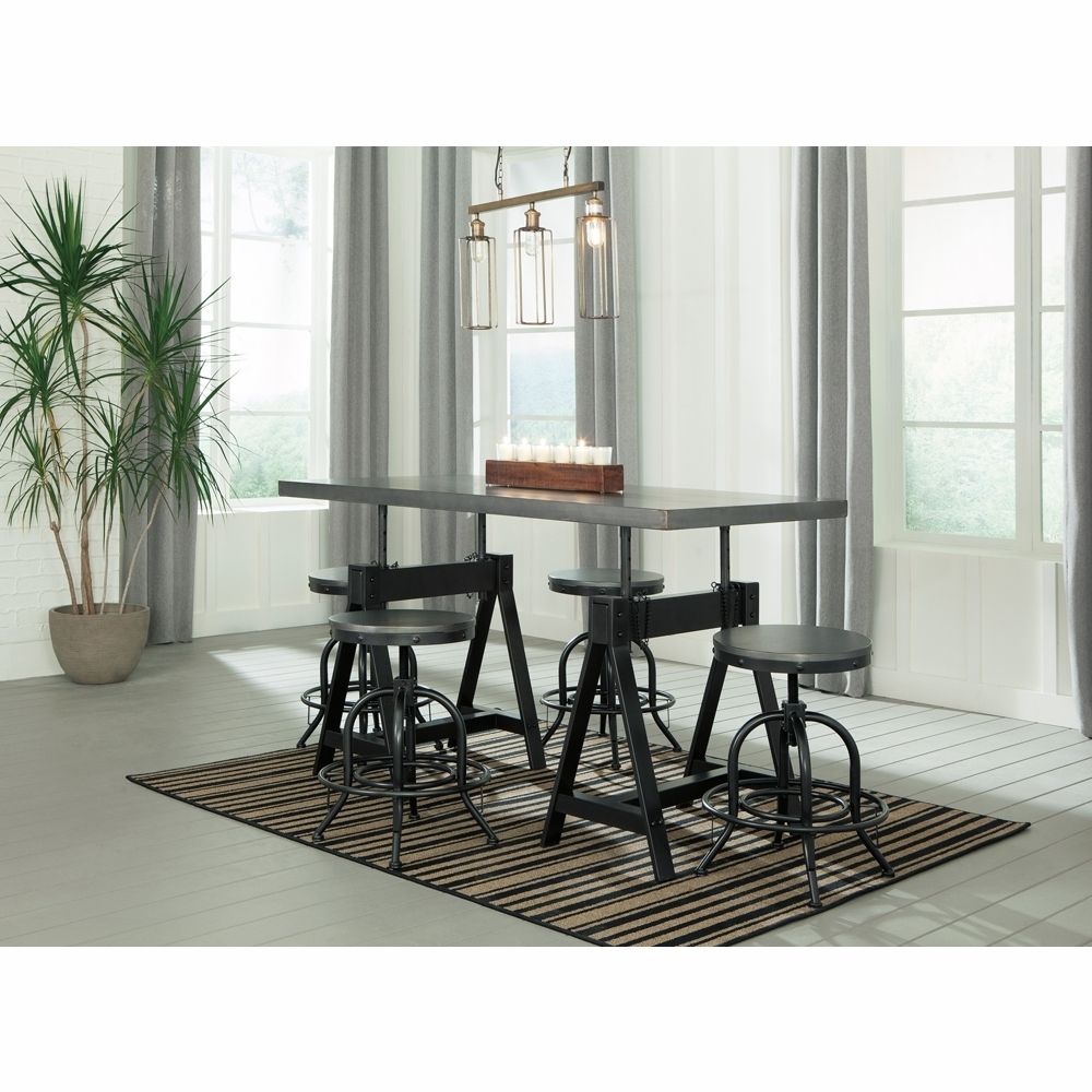 Recent Signature Designashley – Minnona 5 Piece Dining Room Adjustable Within Hyland 5 Piece Counter Sets With Bench (View 21 of 25)