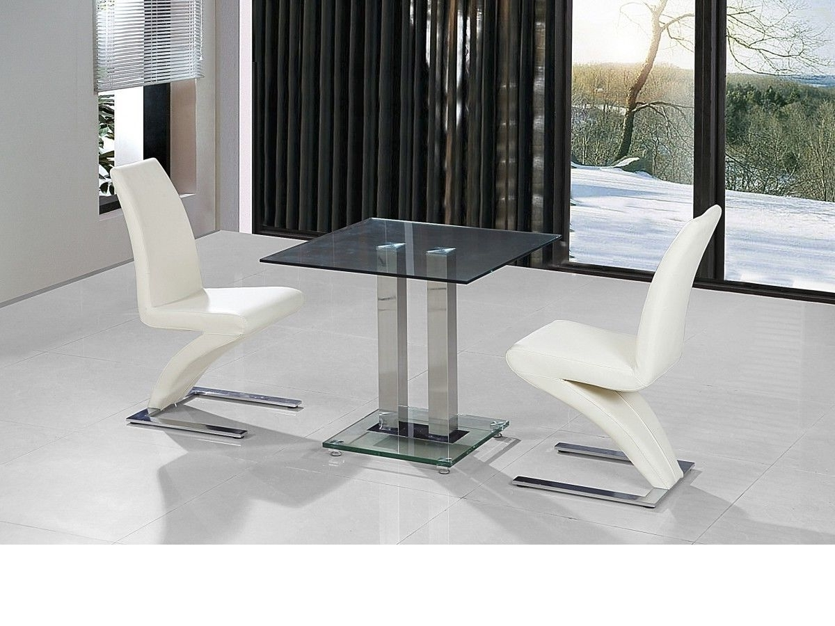 Recent Small Clear Glass Dining Table And 2 Faux Chairs In Cream Set Intended For Clear Glass Dining Tables And Chairs (View 14 of 25)
