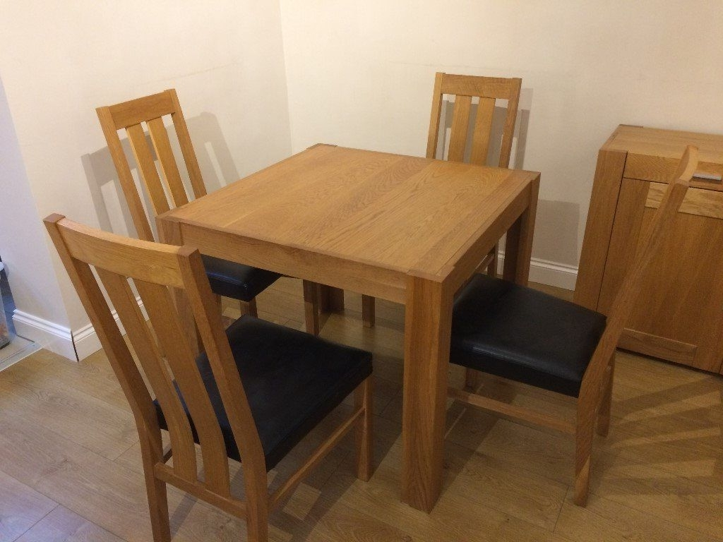 Recent Square Oak Dining Tables With Bentley Designs Square Oak Dining Table & 4 Oak / Black Leather (View 24 of 25)