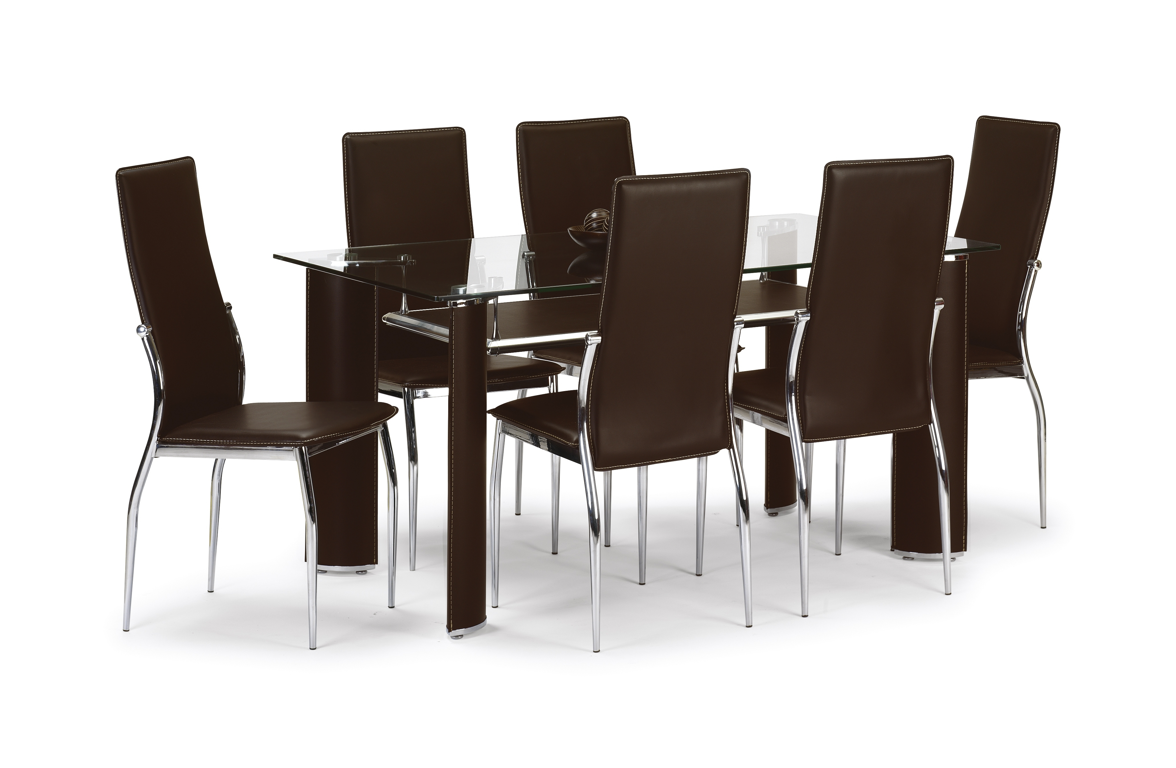 Recent Stylish Brown And Glass Dining Set (Table + 6 Chairs) Pertaining To Glass Dining Tables And 6 Chairs (View 24 of 25)