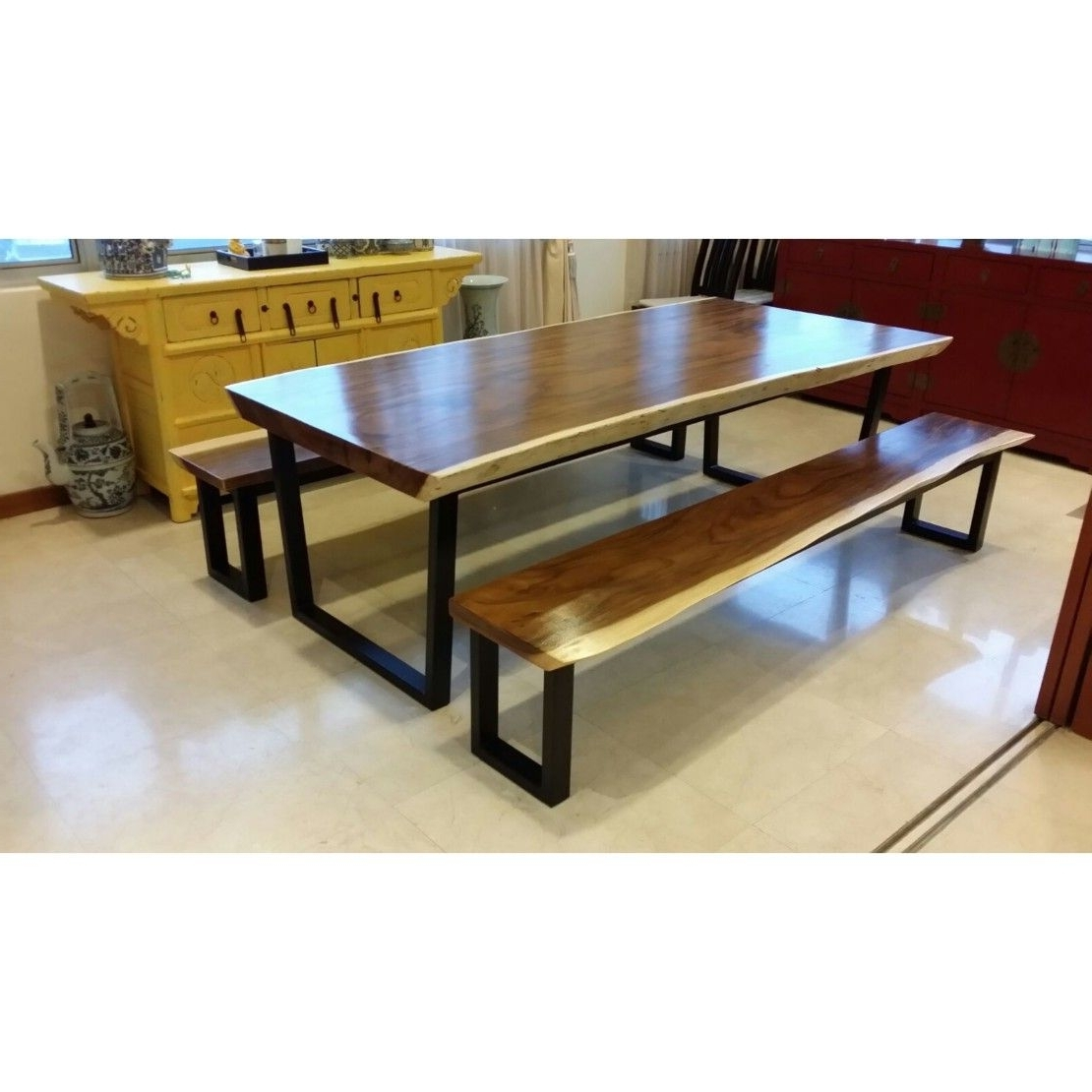 Recent Suar Wood Dining Table With Suar Wood Dining Bench Set Delivered To Throughout Caden Rectangle Dining Tables (View 9 of 25)
