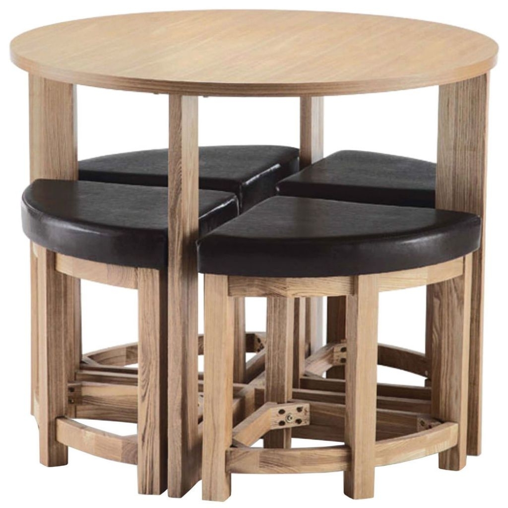 Recent Unstained Birch Wood Foldable Dining Table Set With Wheels Added intended for Compact Dining Room Sets