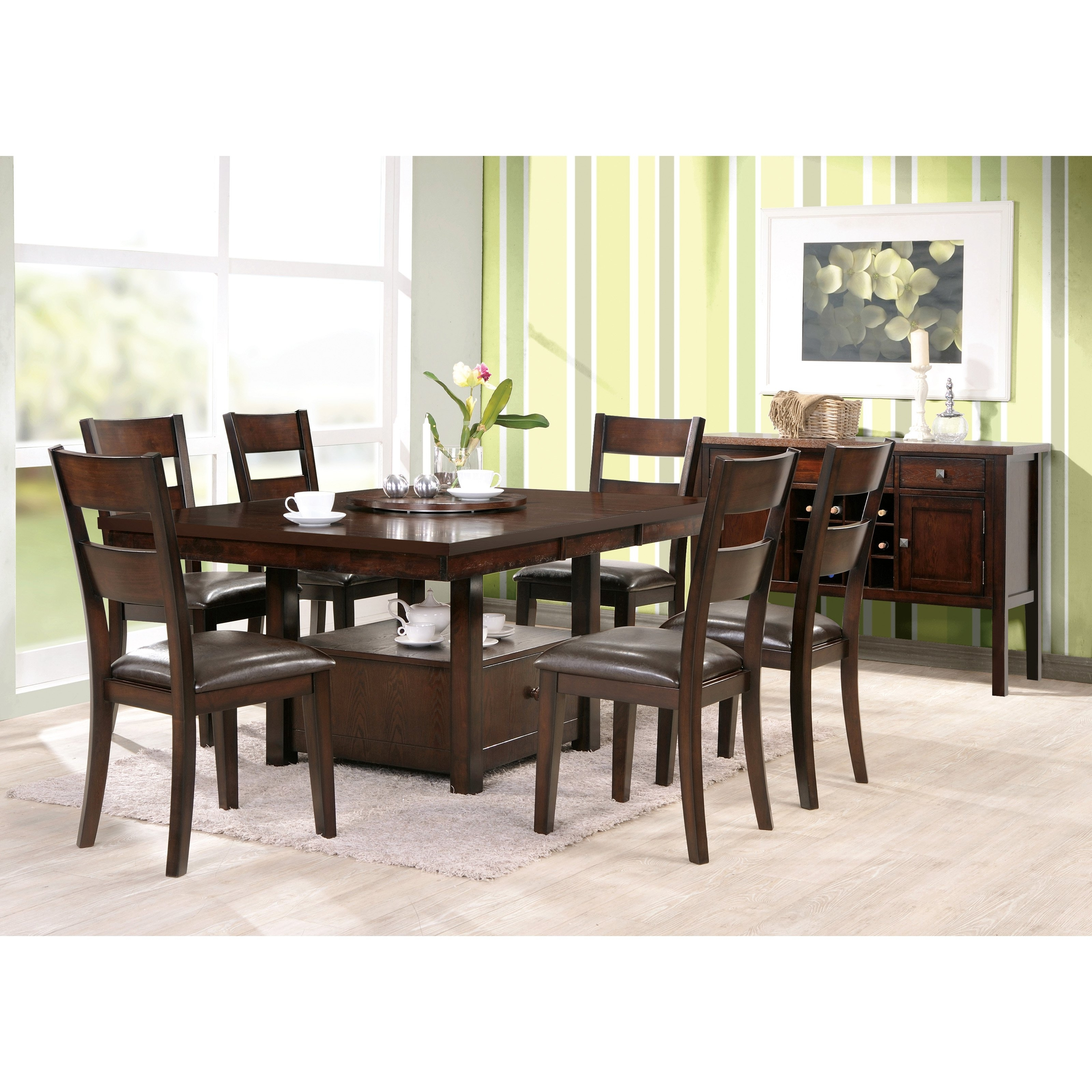 Rectangle Dark Brown Wooden Dining Table With Drawers Addeddark For Trendy Dark Brown Wood Dining Tables (View 21 of 25)