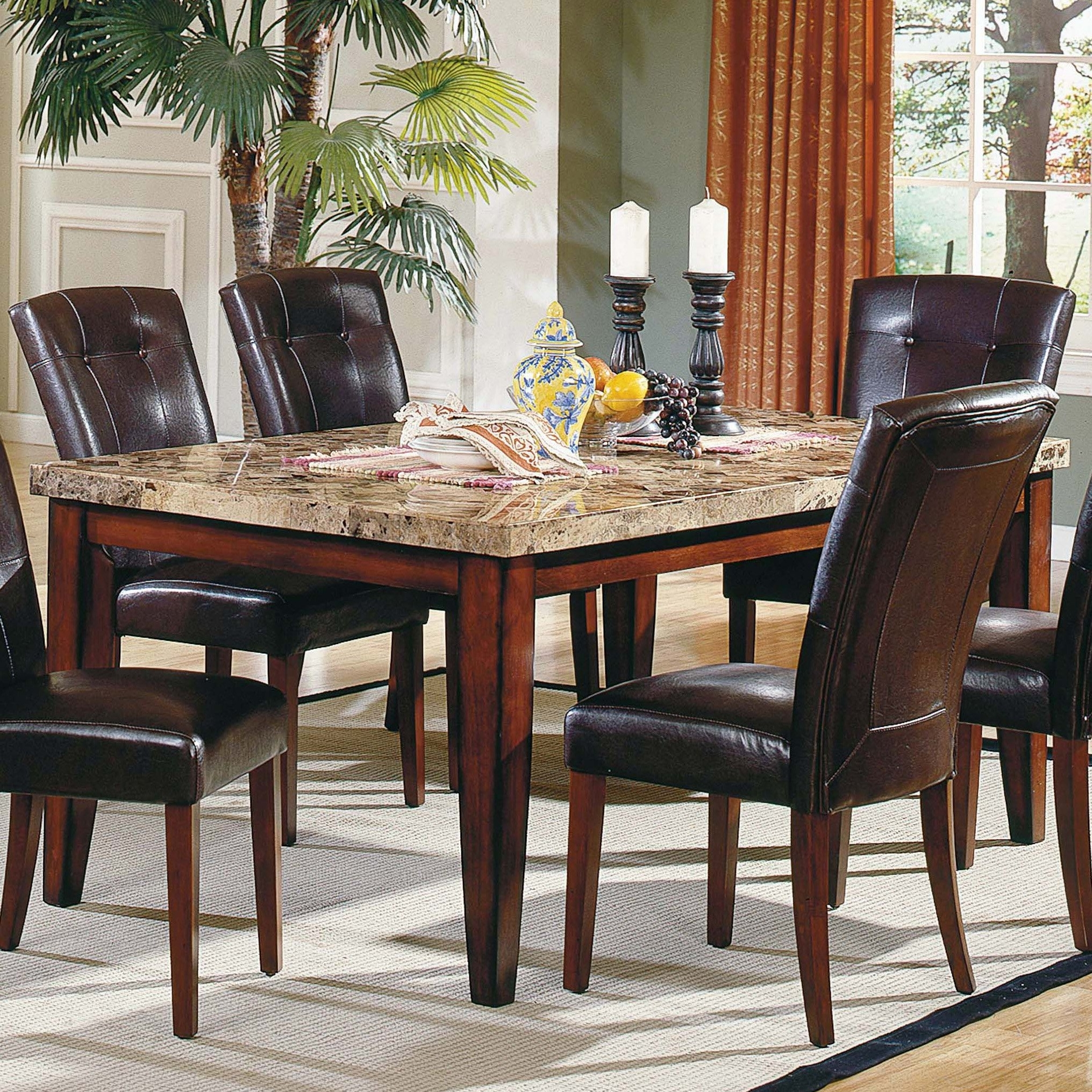 Rectangular Dining Tables Sets Throughout Most Current Steve Silver Montibello 5 Piece Marble Top Rectangular Dining Table (View 6 of 25)