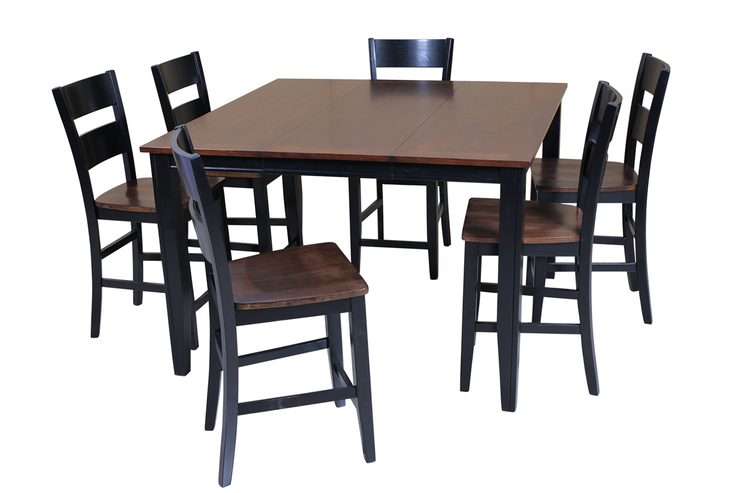 Red Barrel Studio Blessington 7 Piece Counter Height Solid Wood For Most Popular Chandler 7 Piece Extension Dining Sets With Fabric Side Chairs (View 17 of 25)