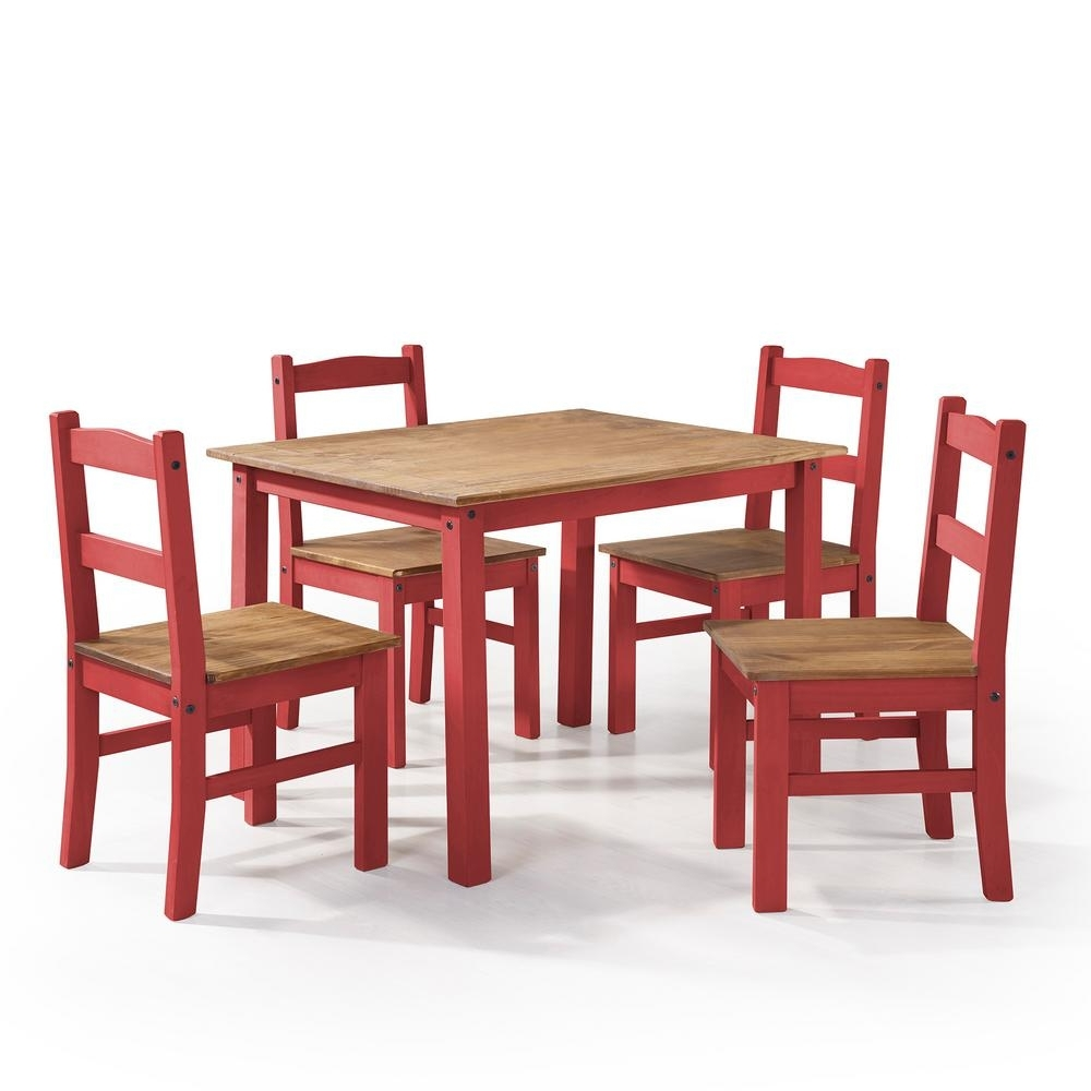 Red Dining Table Sets Intended For Preferred Manhattan Comfort York 5 Piece Red Wash Solid Wood Dining Set With  (View 18 of 25)