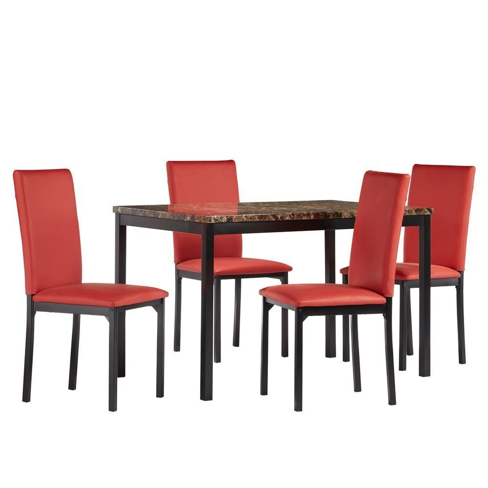 Red Dining Table Sets With Well Known Homesullivan Bedford 5 Piece Red Dining Set 402601485Pc2Rds – The (View 22 of 25)