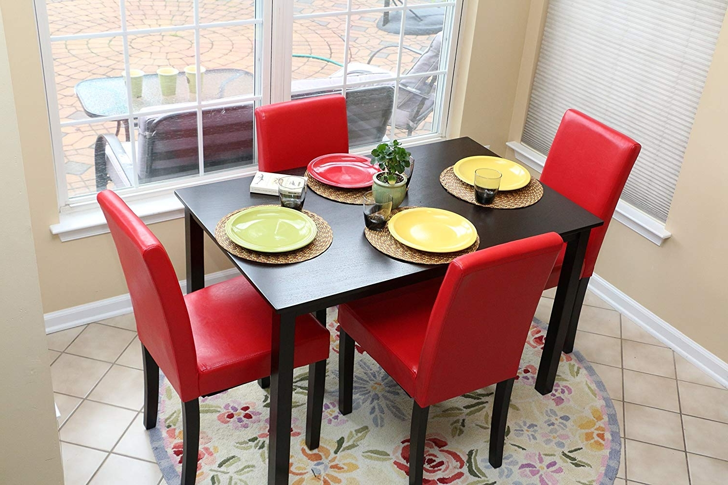 Red Dining Tables And Chairs Regarding Favorite Amazon – 5 Pc Red Leather 4 Person Table And Chairs Red Dining (View 17 of 25)