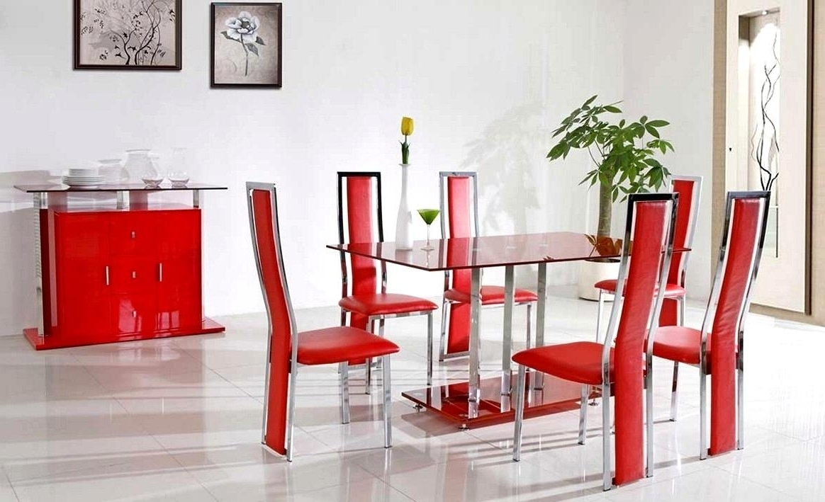 Red Dining Tables And Chairs With Famous Phenomenal Red Dining Sets Stainless Steel Red Leather Dining Room (View 19 of 25)