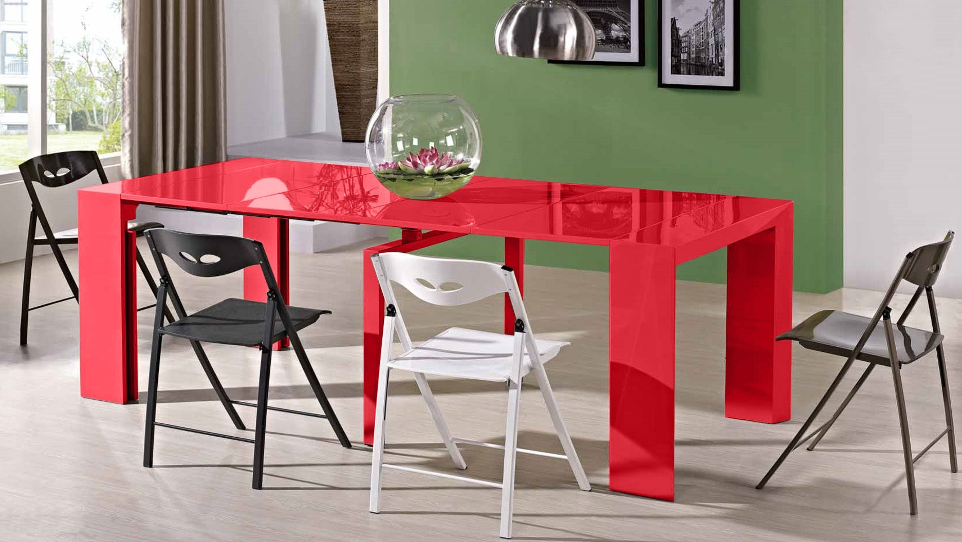 Red Gloss Dining Tables For Best And Newest Jr Edge Dining Set – Super Extending Console Table & Chairs (View 15 of 25)