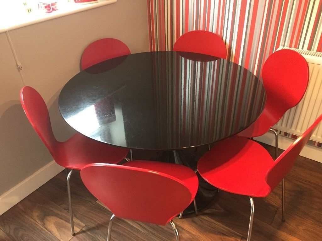 Red Gloss Dining Tables With Well Known Dwell Twist Stem Black Gloss Round Dining Table And 6 Red Bistro Chairs (View 20 of 25)