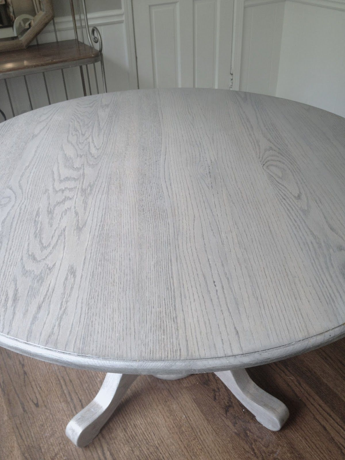 Refinishing Dining Table Gray!!long And Found: Diy Kitchen Table Within Latest Washed Old Oak & Waxed Black Legs Bar Tables (View 18 of 25)