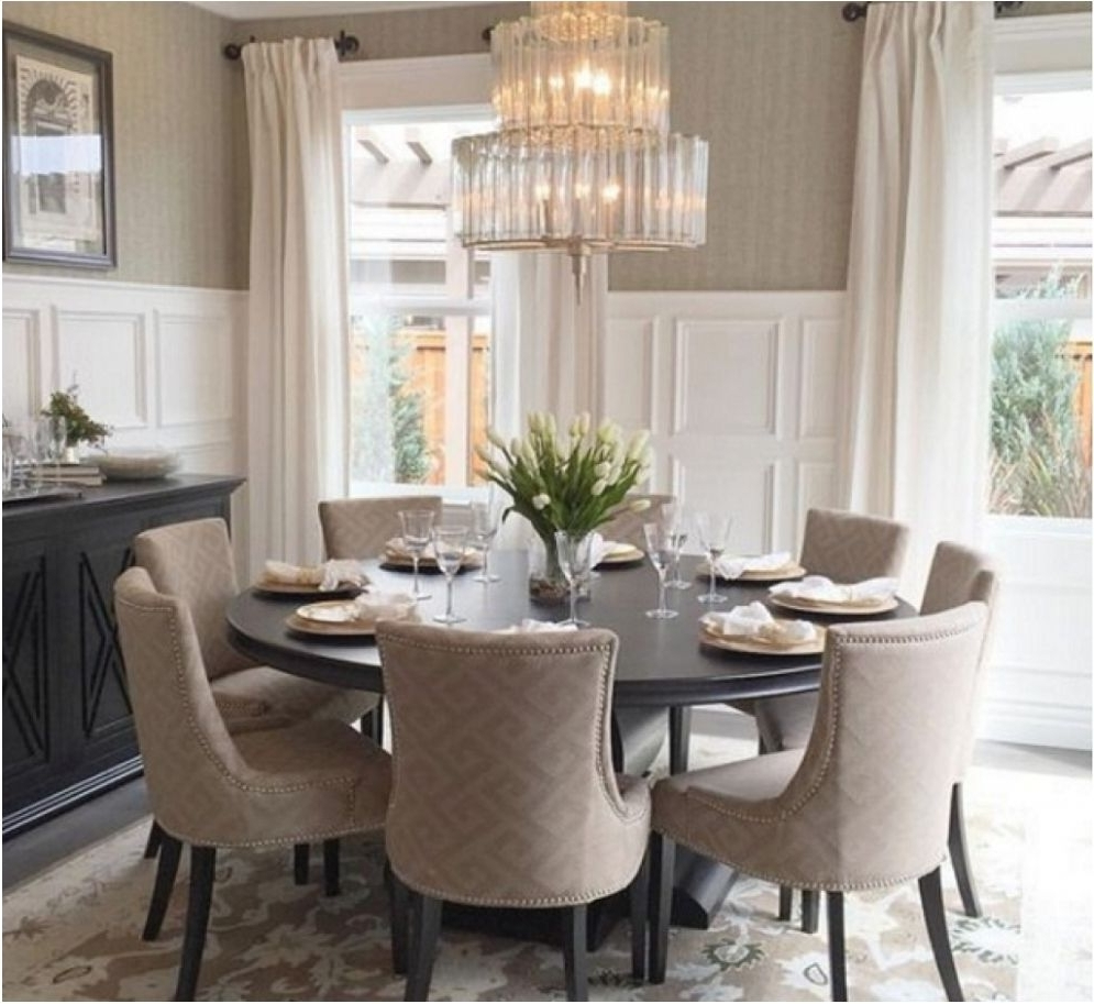 Remarkable Dining Room Large Round Oak Dining Table 8 Chairs Throughout Recent Dining Tables Seats  (View 20 of 25)
