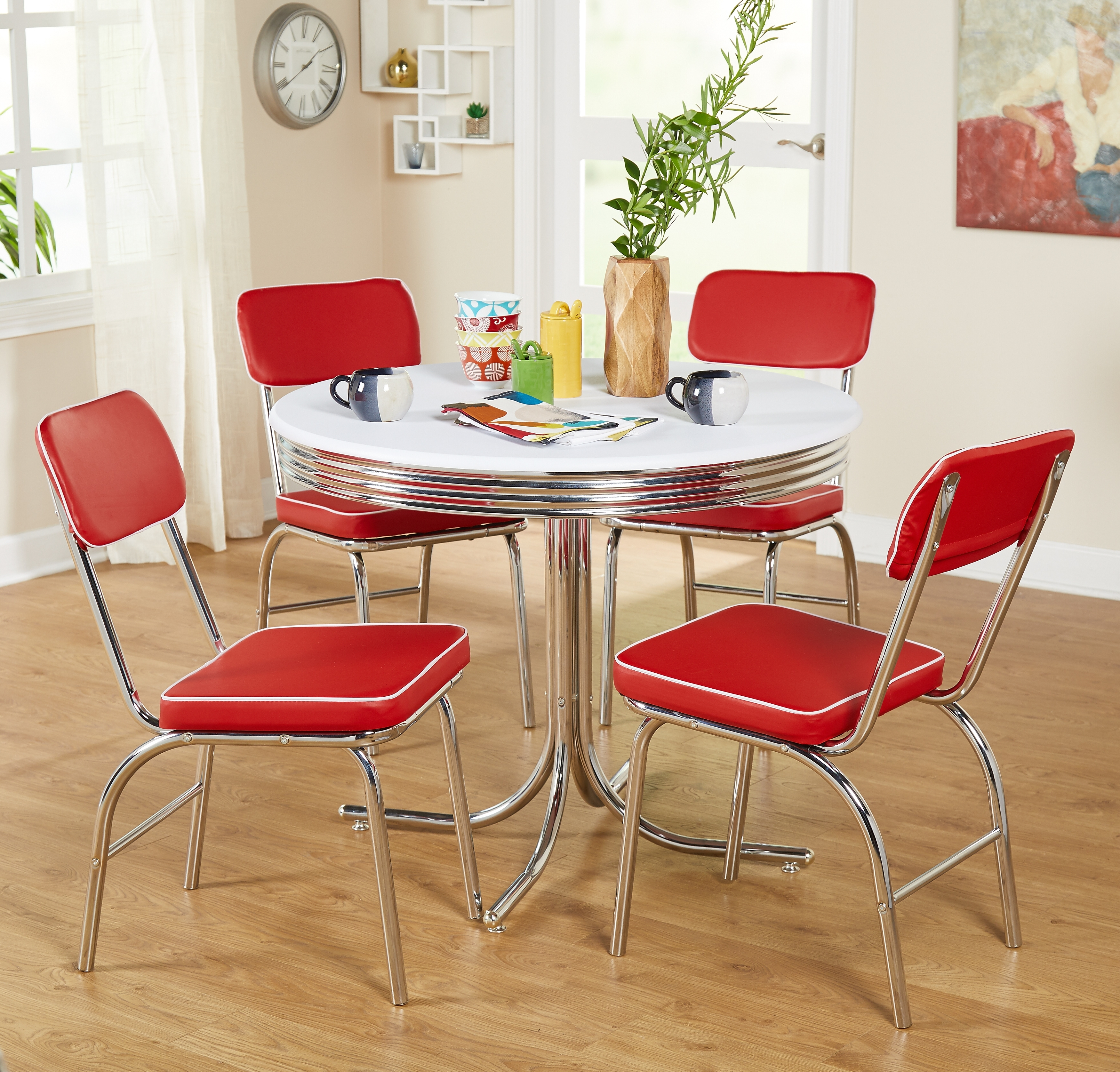 Retro Chrome Dining Chairs Vinyl Vintage 50's Diner Style Seats Red For Famous Chrome Dining Sets (View 21 of 25)