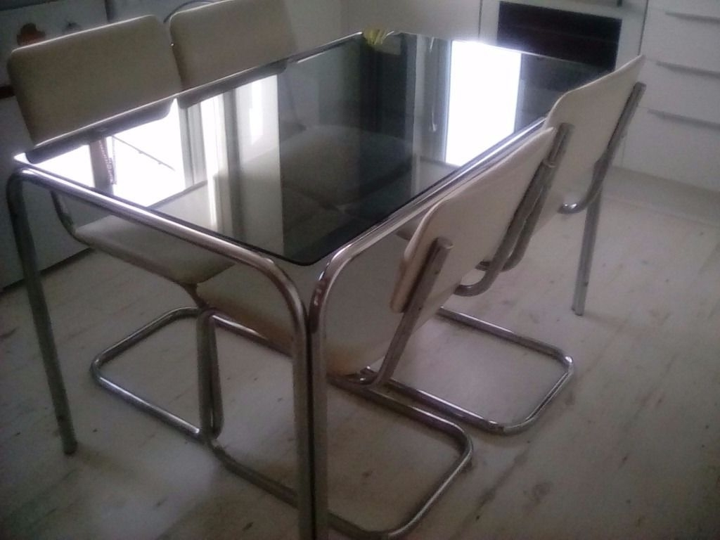Retro Glass Dining Tables And Chairs For 2017 1970 Retro Original Smoked Glass Dining Table And 4 Chairs – Chrome (View 16 of 25)