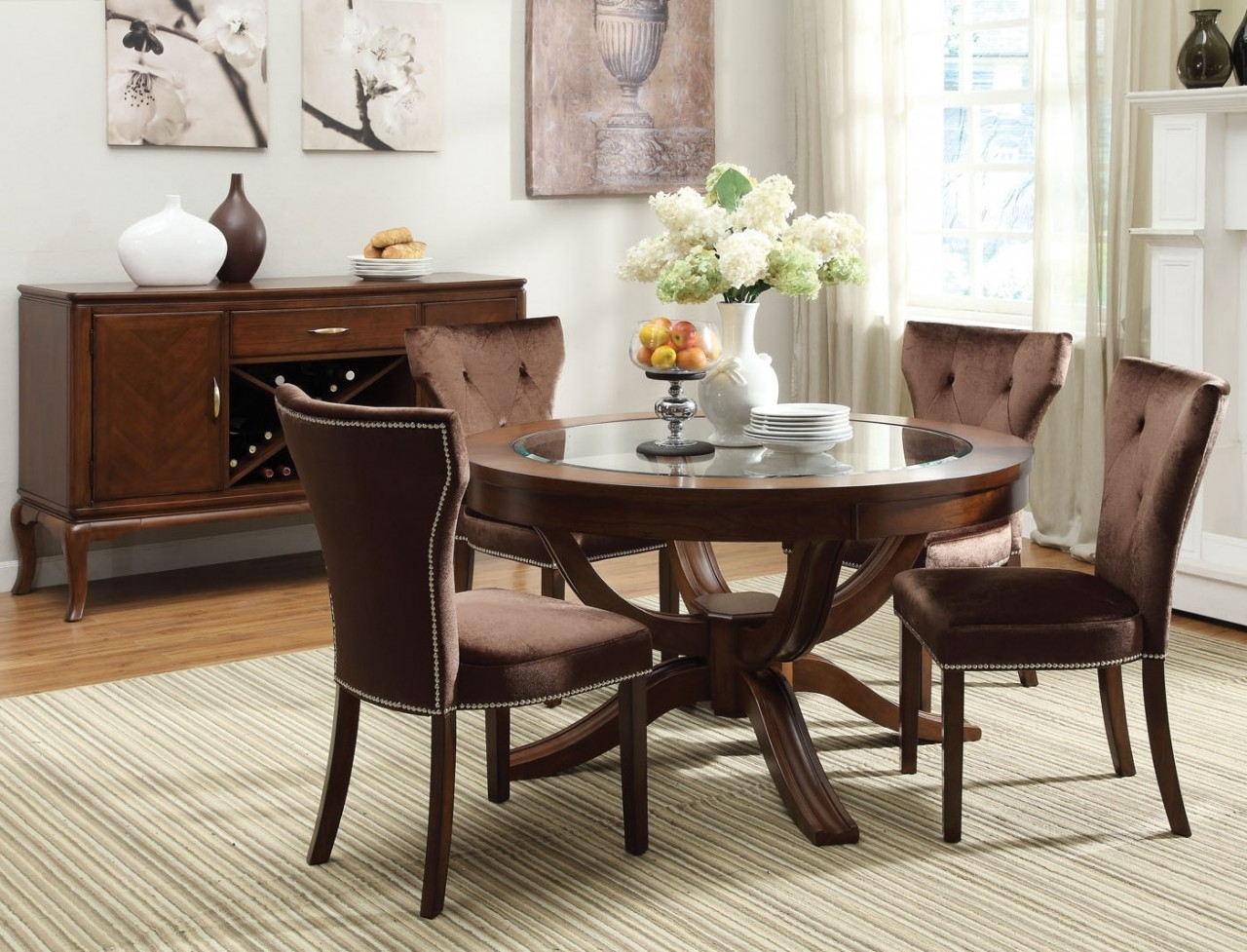 Retro Glass Dining Tables And Chairs Regarding Popular Round Dining Table Set For 6 – Castrophotos (View 20 of 25)