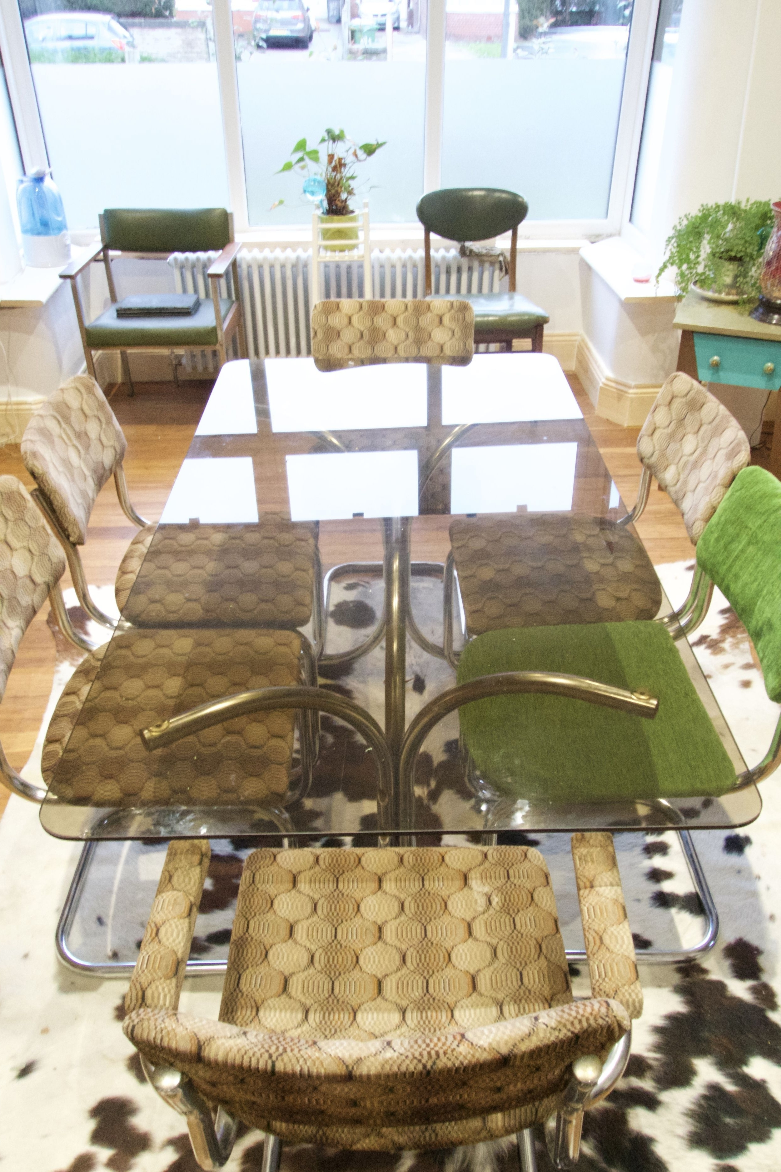 Retro Glass Dining Tables And Chairs With Regard To Famous Vintage Retro Mid Century Italian Chrome Smoked Glass Dining Table (View 15 of 25)