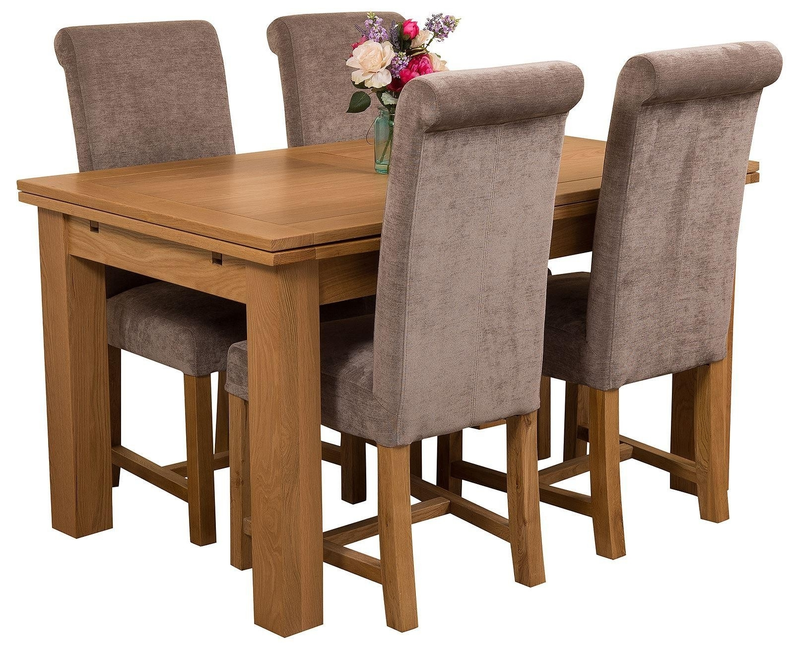 Richmond Medium Oak Dining Set 4 Grey Chairs Regarding Best And Newest Oak Dining Tables And Fabric Chairs (View 21 of 25)