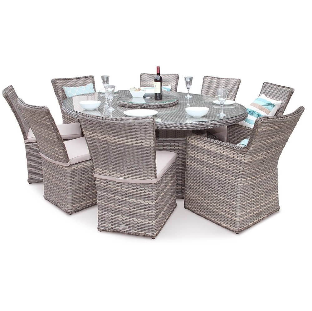 Richmond Oval Rattan Furniture 8 Seater Dining Table Set Natural Regarding Most Recent 8 Seat Outdoor Dining Tables (View 20 of 25)