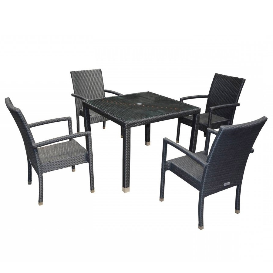 Rio Dining Tables With Most Recent Rio Garden Dining Set Square Table With 4 Armed Chairs In Black (View 10 of 25)