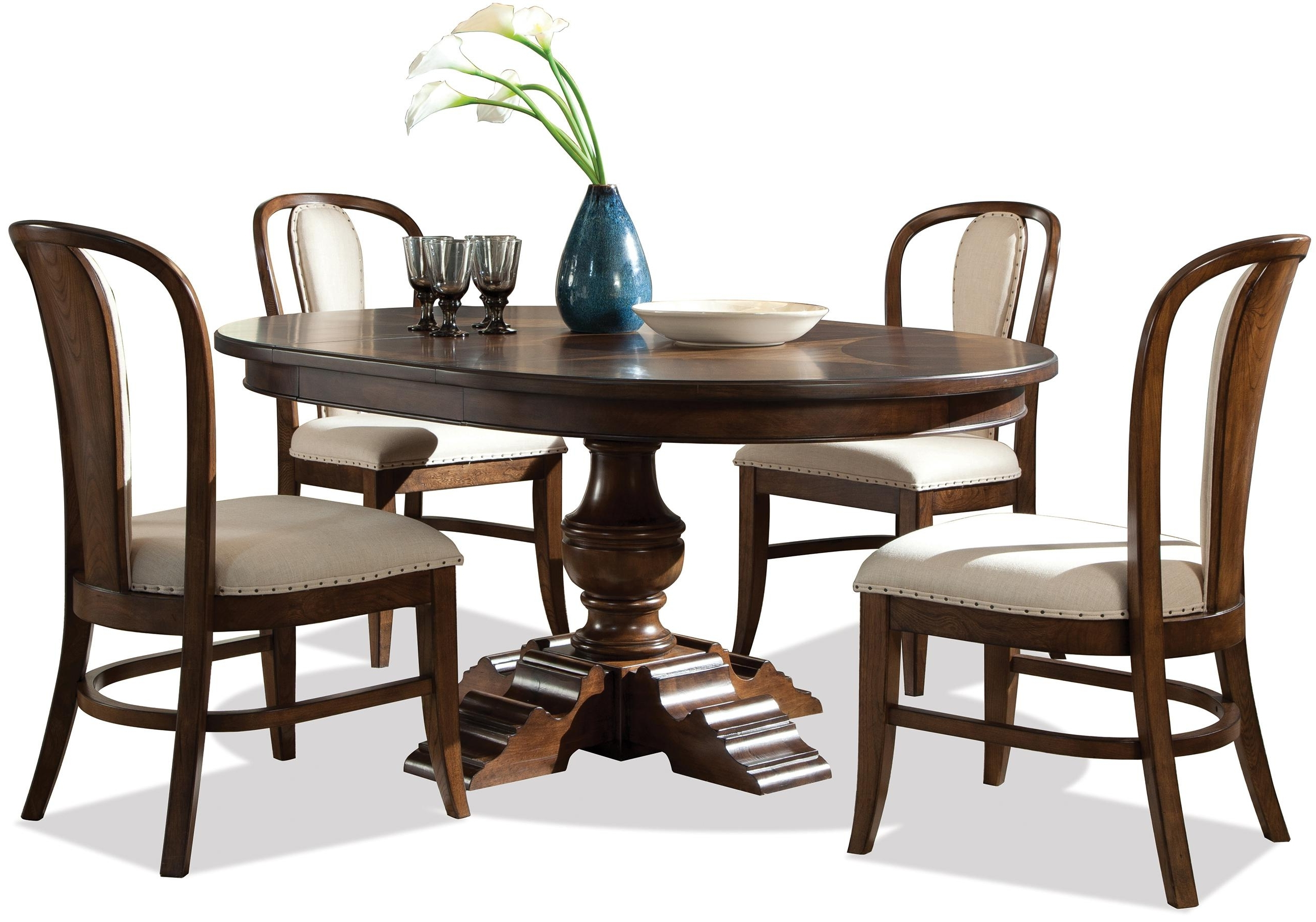Riverside Furniture Lawrenceville 5 Piece Round Table & Bow Back Within Widely Used Caira Black 5 Piece Round Dining Sets With Diamond Back Side Chairs (View 4 of 25)